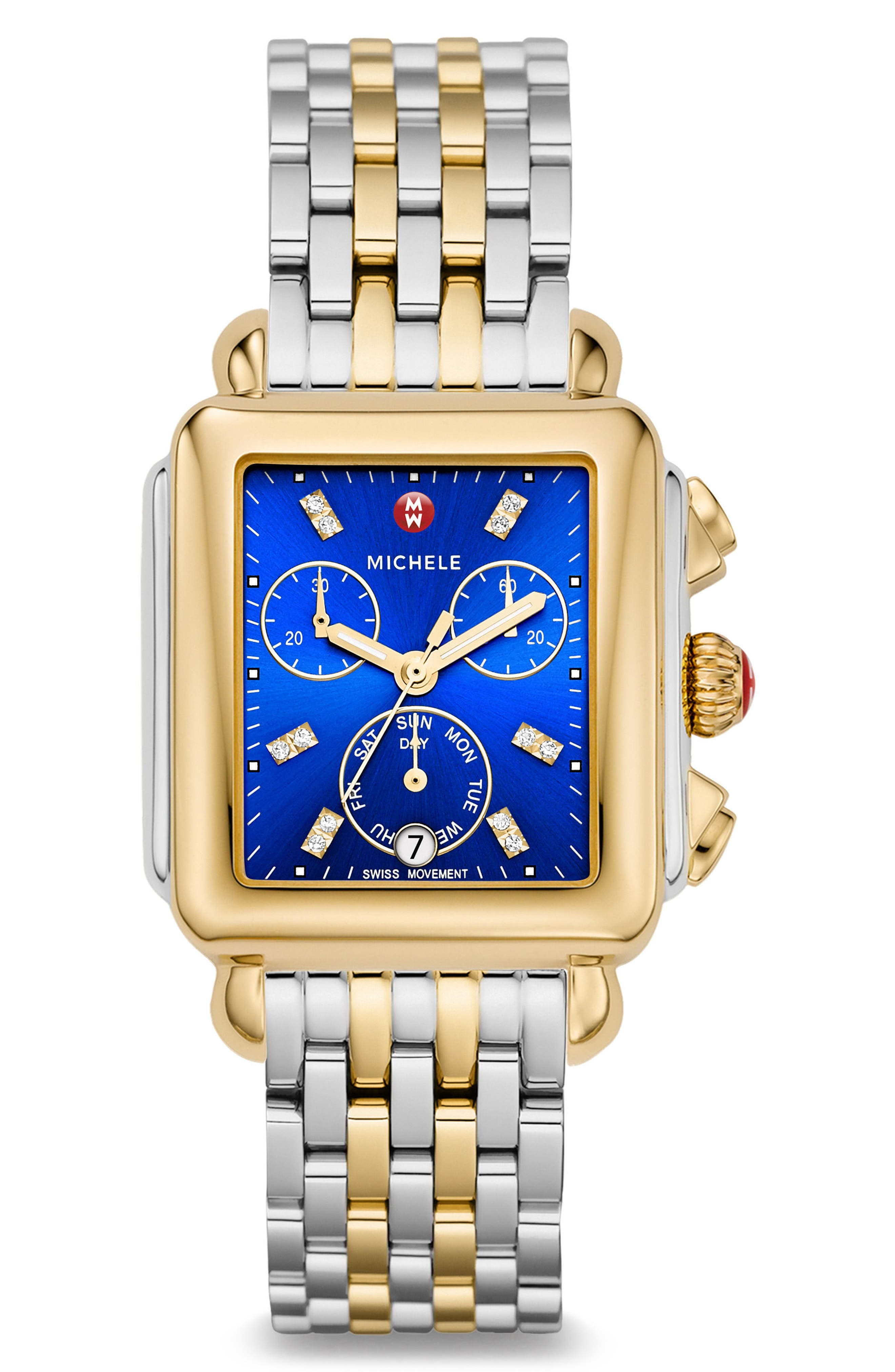 Deco Diamond Dial Two-Tone Watch Head, 33mm x 35mm,                             Alternate thumbnail 2, color,                             Gold/ Cobalt/ Silver