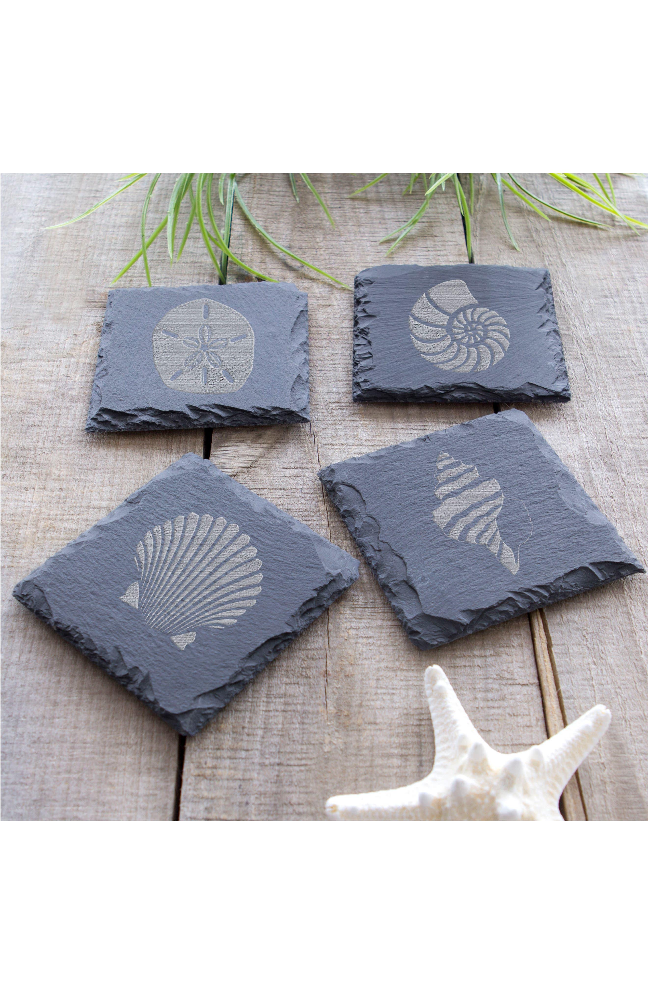 Set of 4 Slate Coasters,                             Alternate thumbnail 4, color,                             Sea Shell