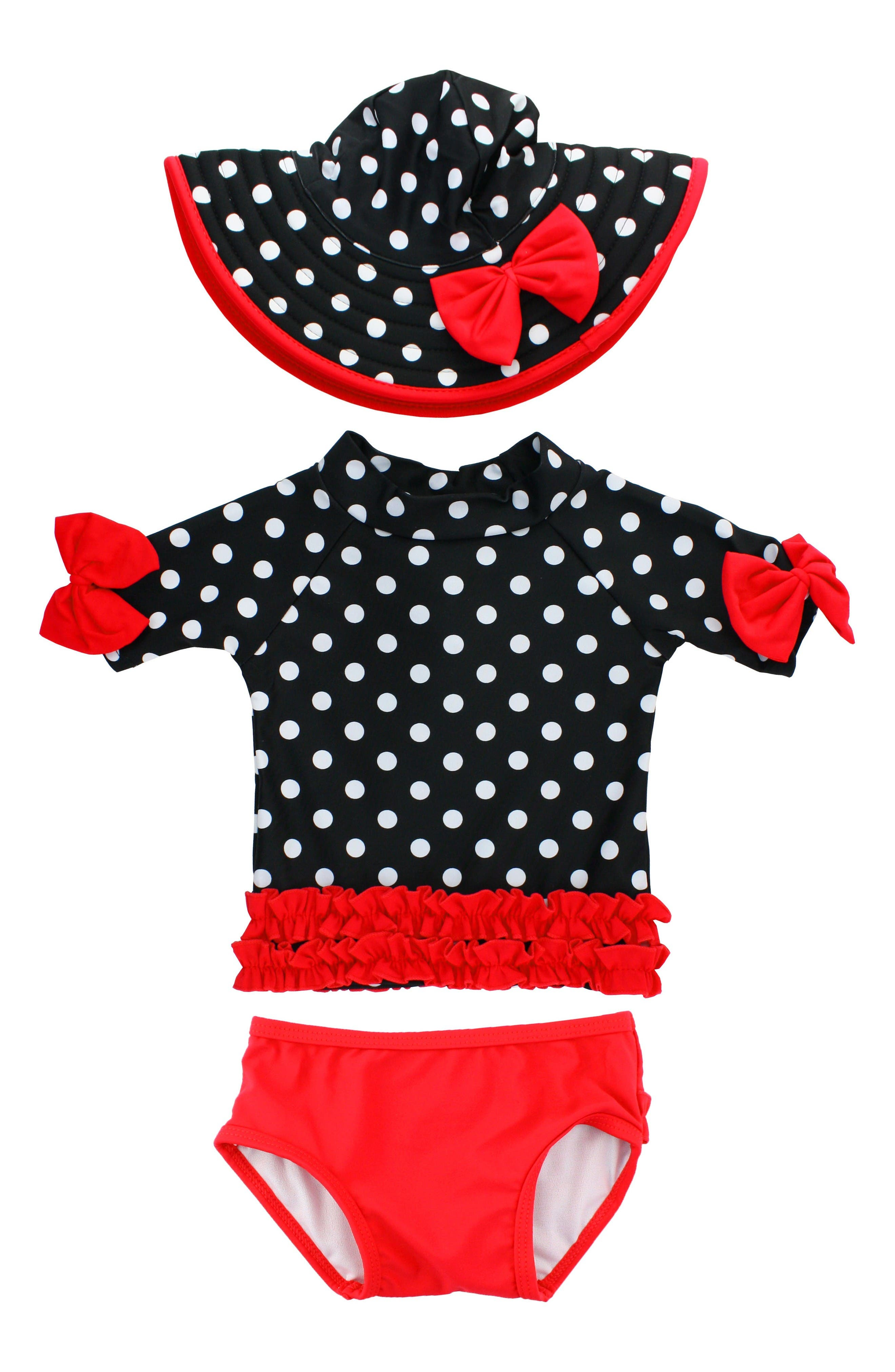 Ruffle Butts Vintage Two-Piece Rashguard Swimsuit & Hat Set (Baby Girls)