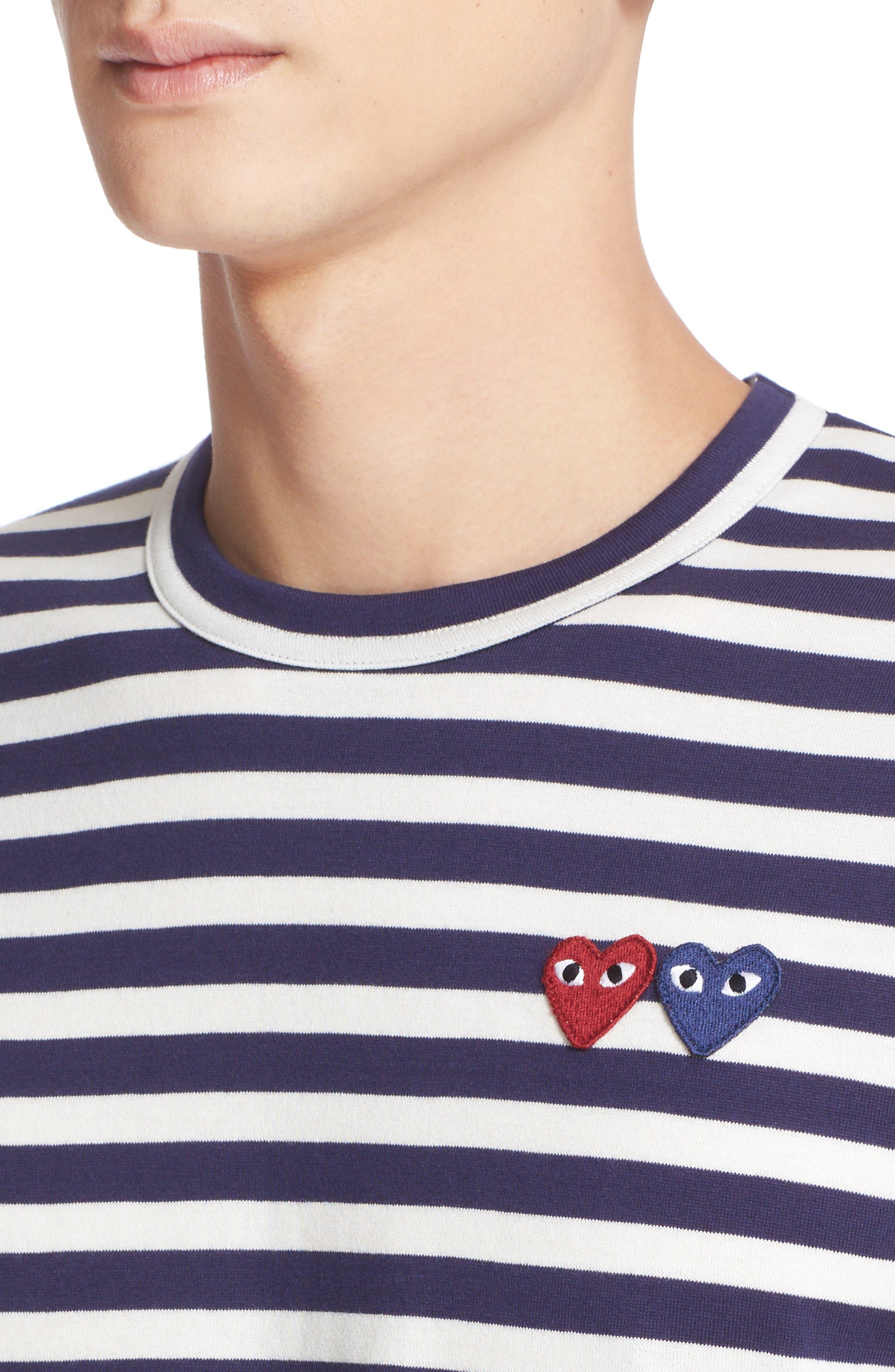 Comme des Garçons Play Twin Appliqué Stripe T-Shirt,                             Alternate thumbnail 4, color,                             Navy/ White
