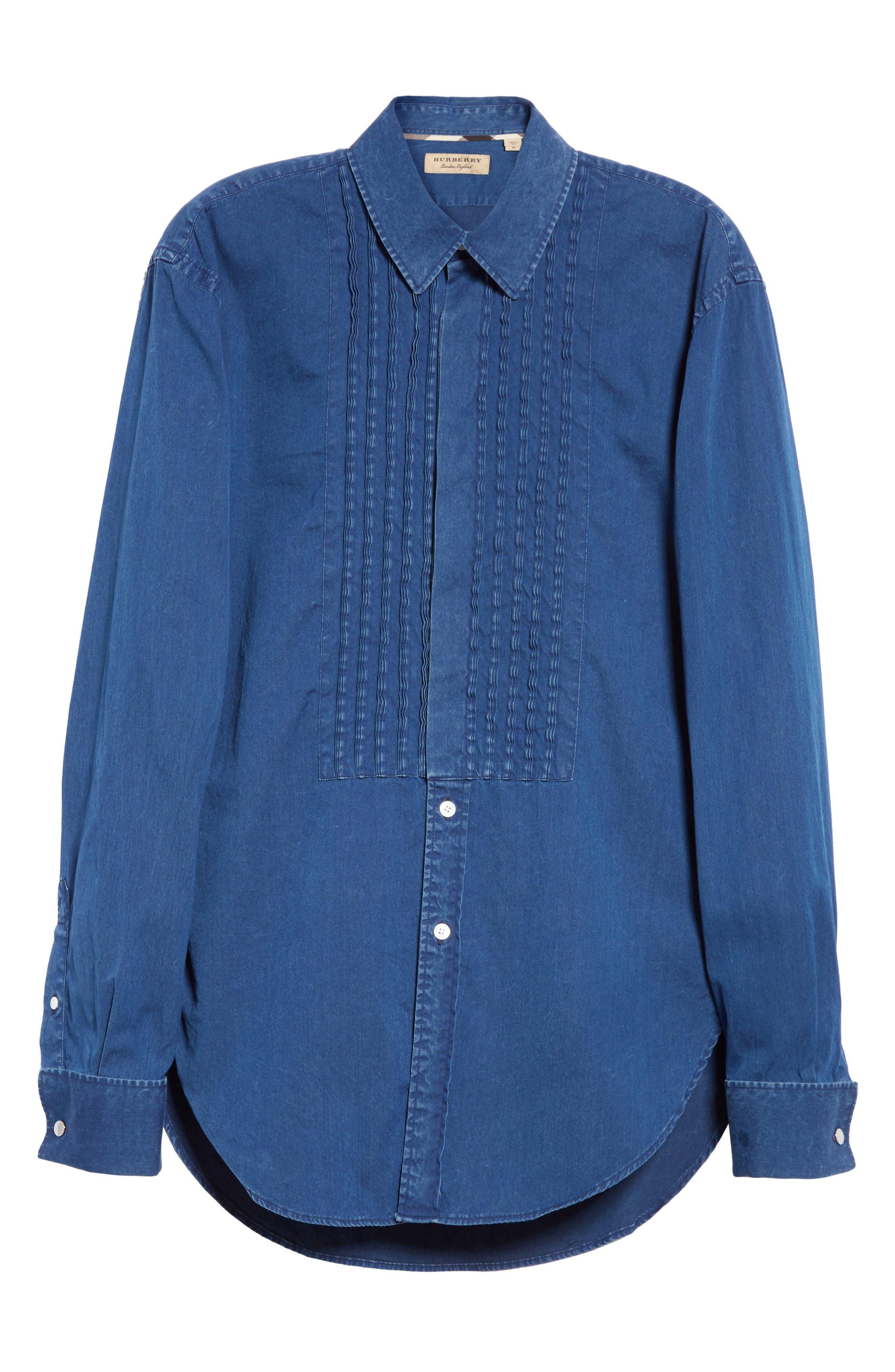 Alternate Image 4  - Burberry Jaden Pintuck Denim Shirt