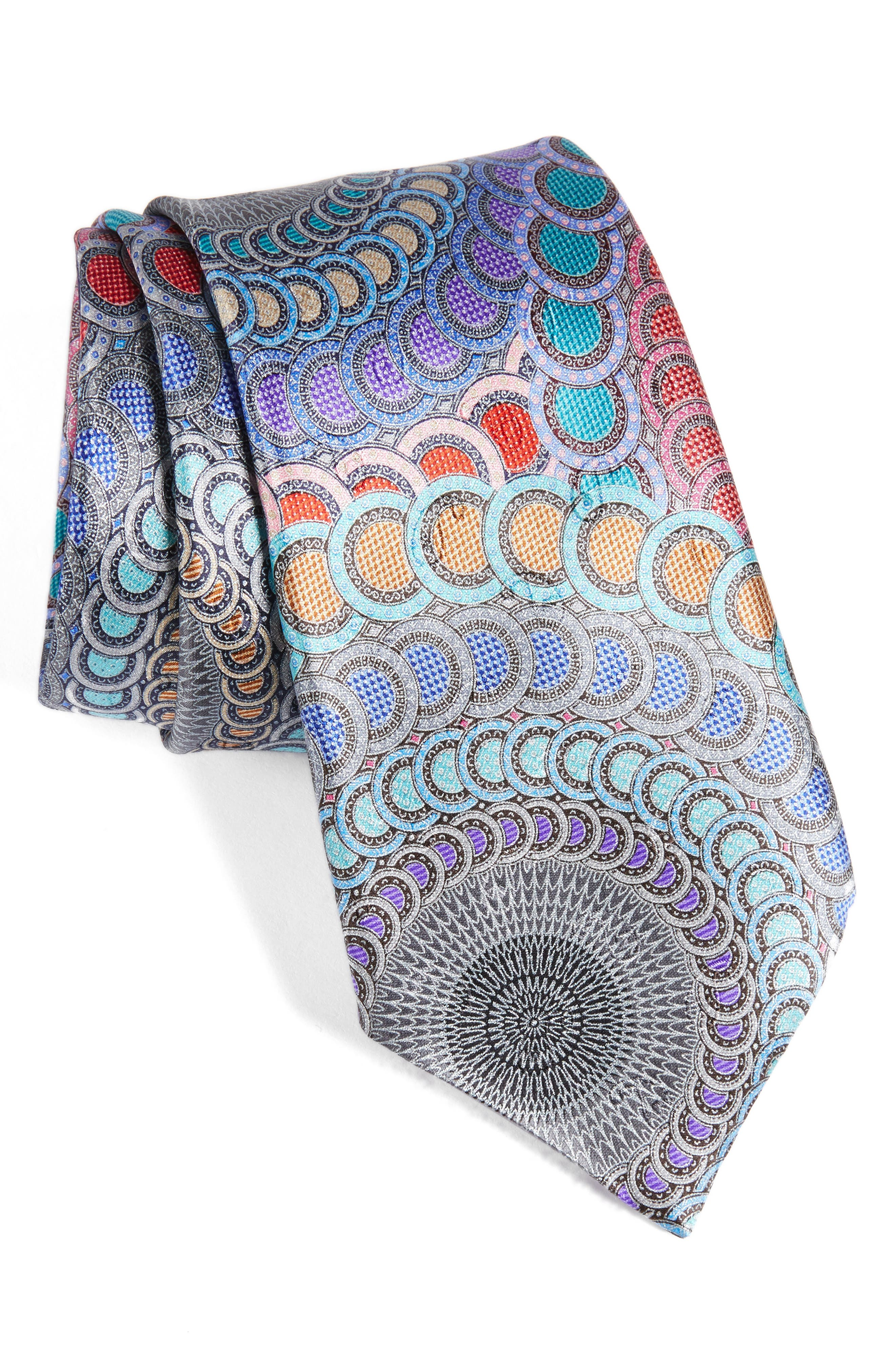 Venticinque Medallion Silk Tie,                         Main,                         color, Blue