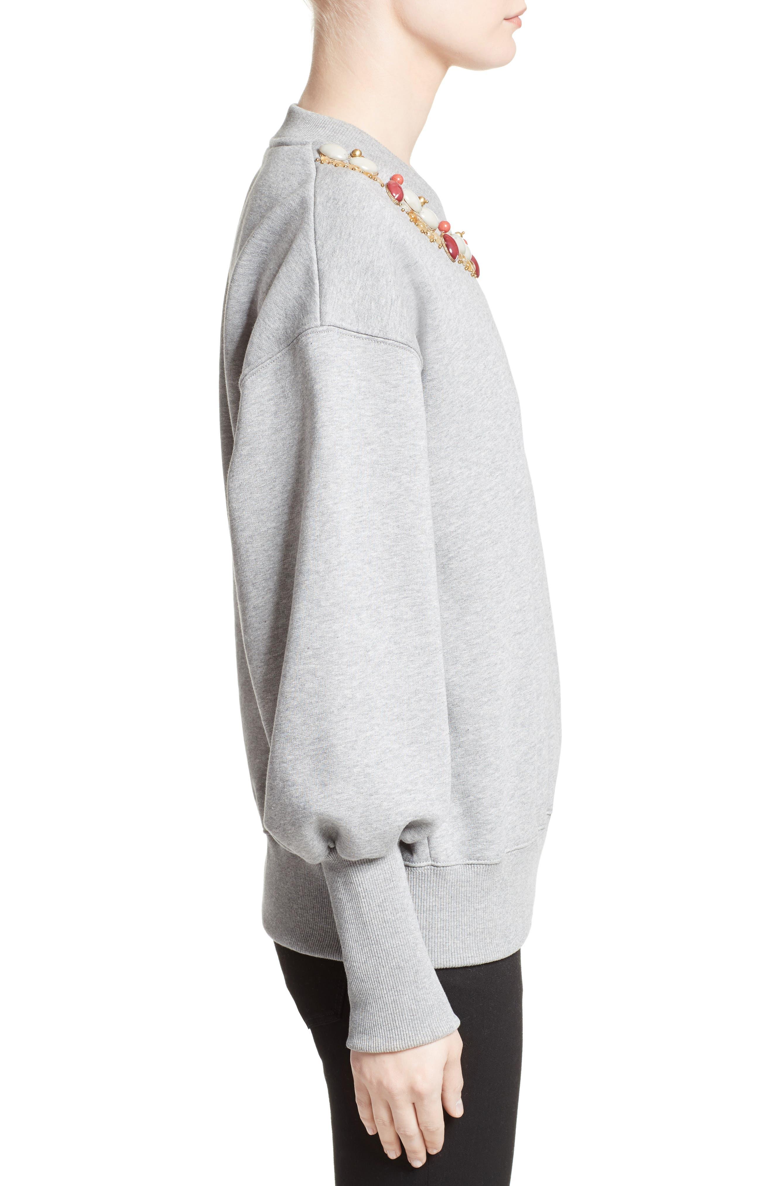 Juliano Embellished Sweatshirt,                             Alternate thumbnail 5, color,                             Pale Grey Melange