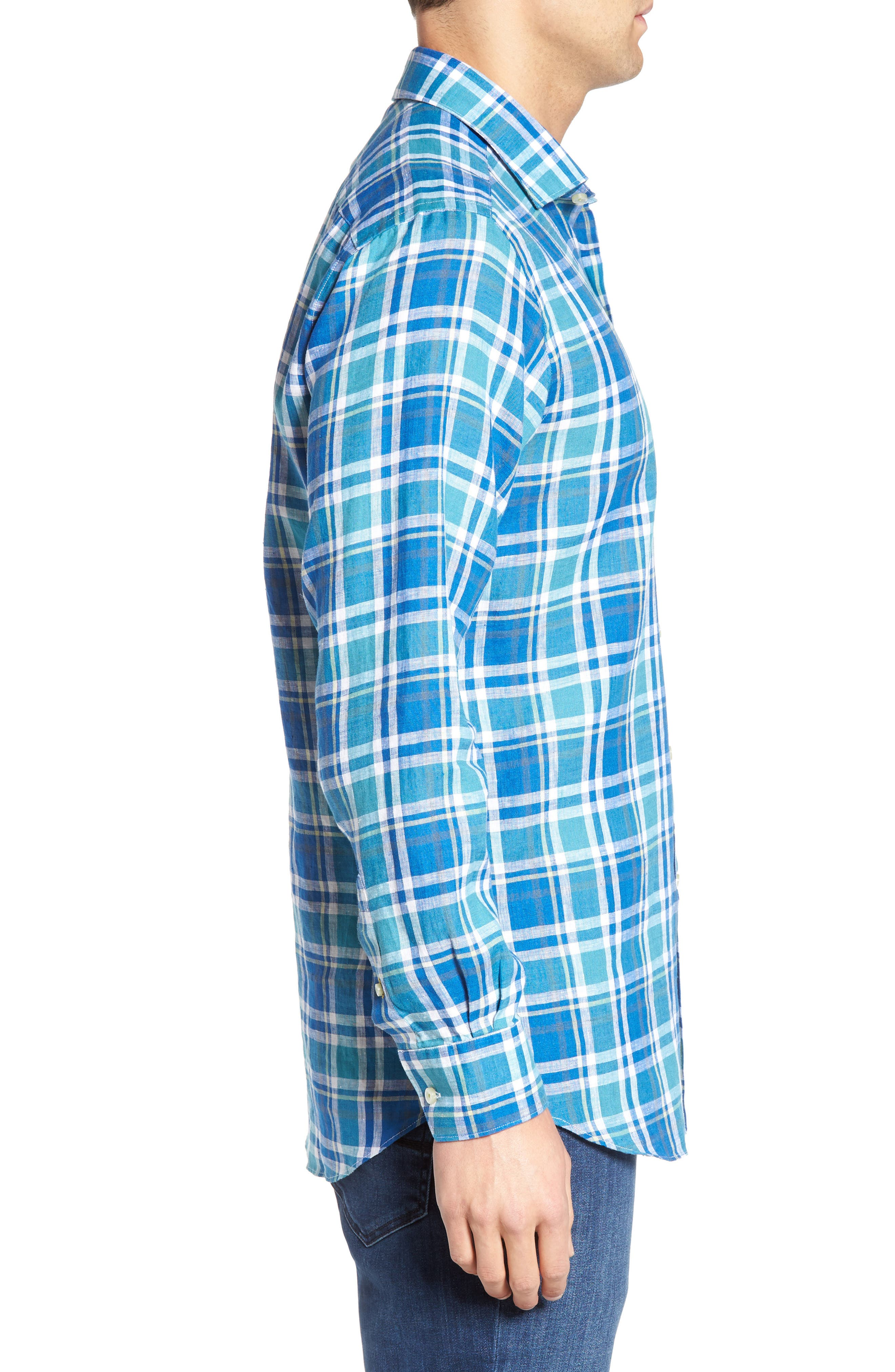 Crespi IV Tailored Fit Sport Shirt,                             Alternate thumbnail 4, color,                             Teal