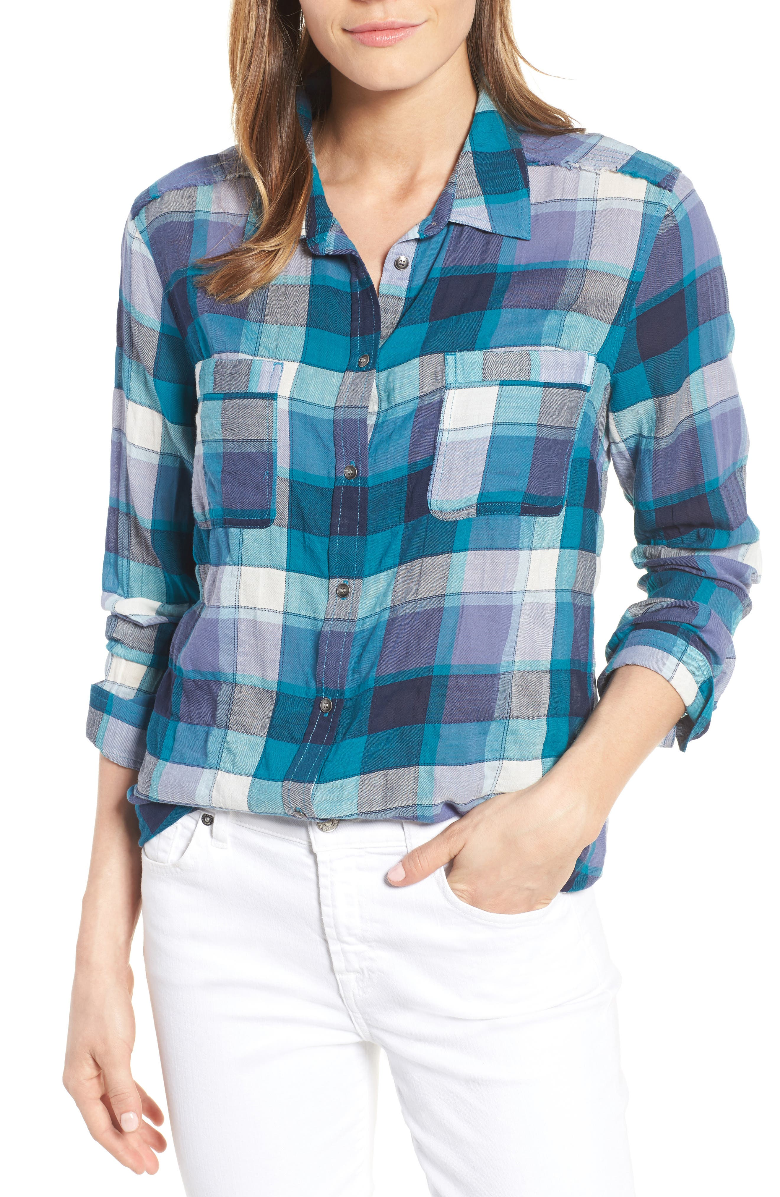 Main Image - Caslon® Long Sleeve Crinkle Cotton Shirt (Regular & Petite)