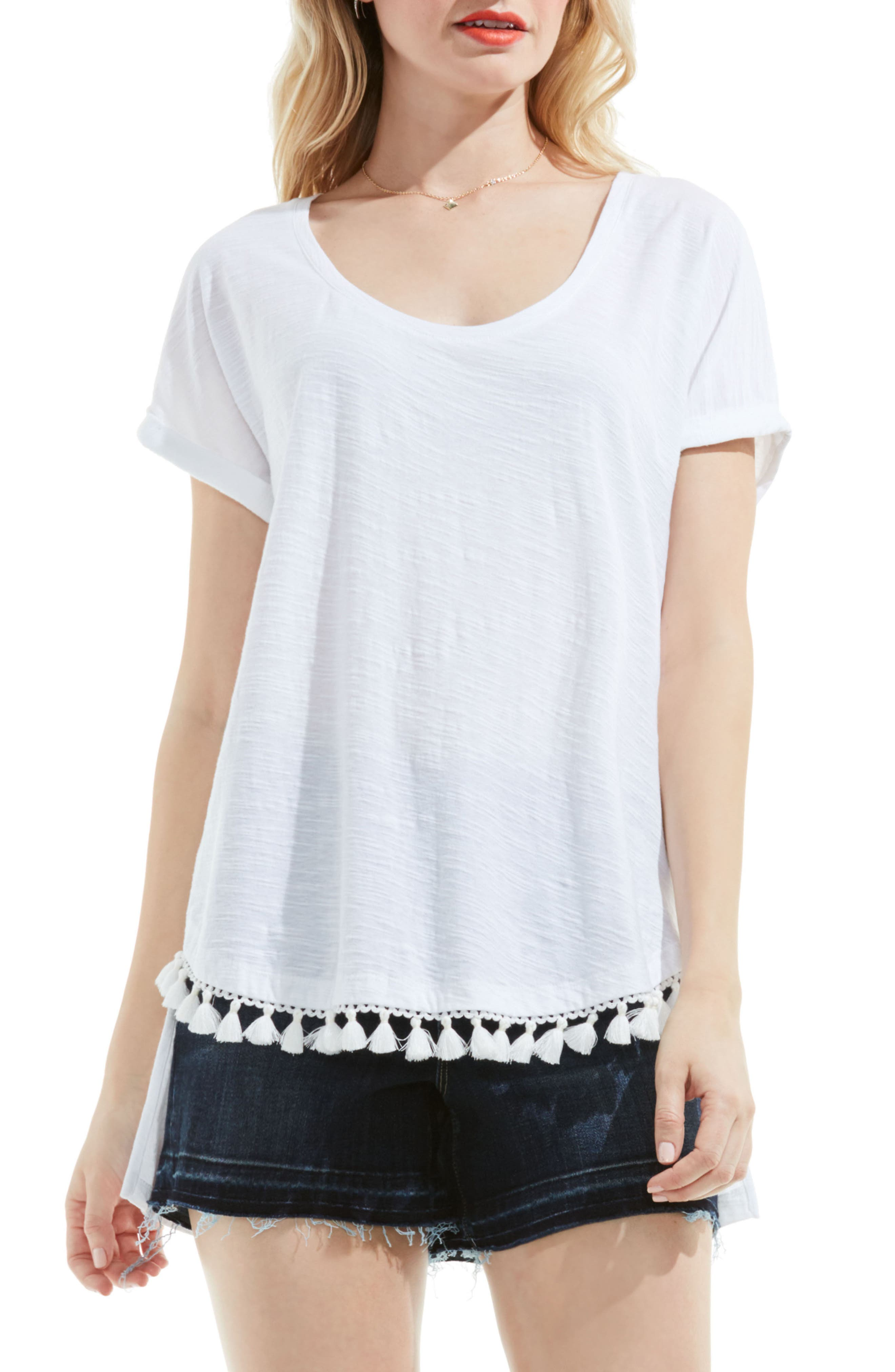 Main Image - Two by Vince Camuto Tassel Trim Cotton Tee