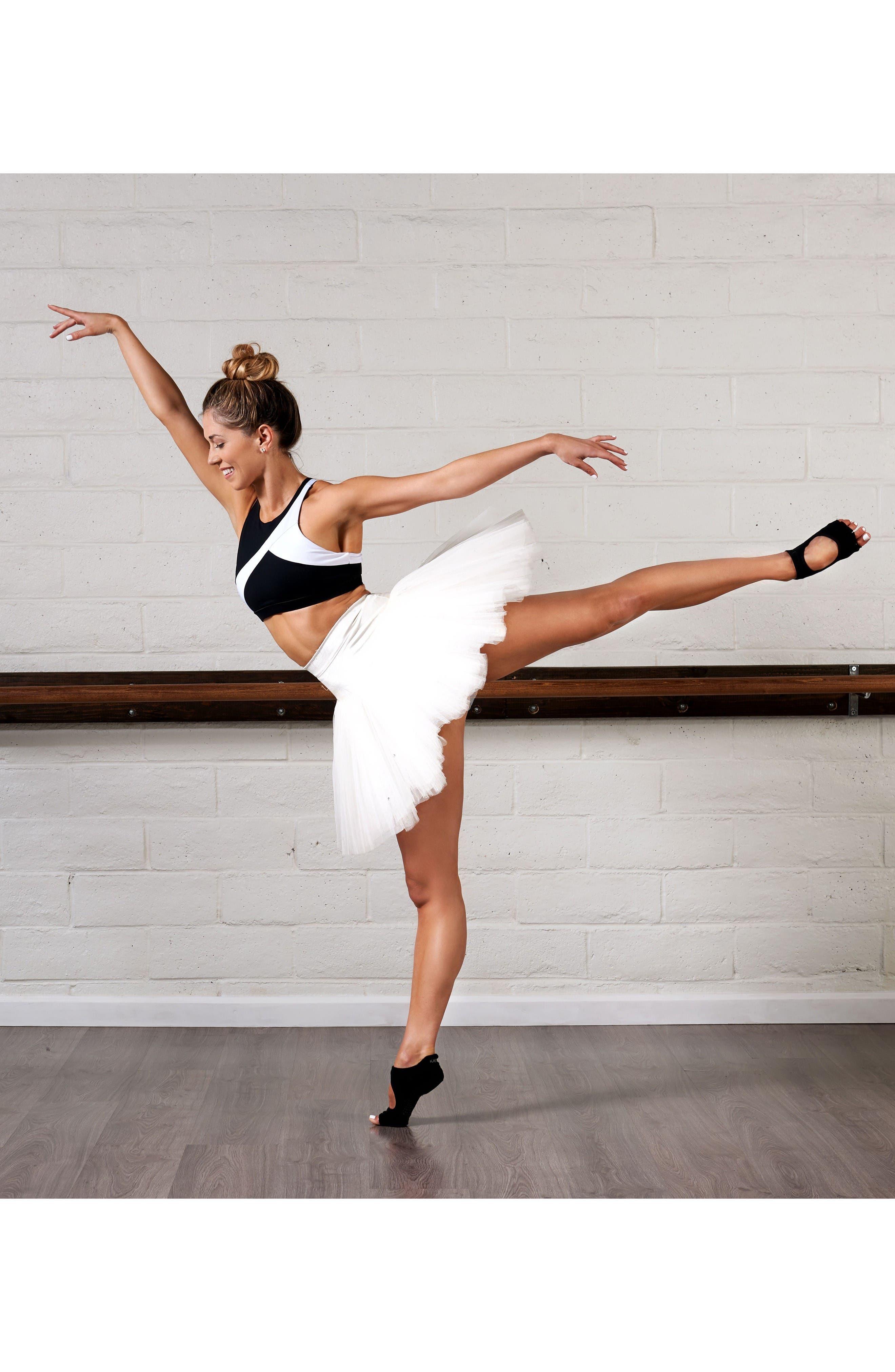 'Dance Plié' Half-Toe Gripper Socks,                             Alternate thumbnail 2, color,                             Black