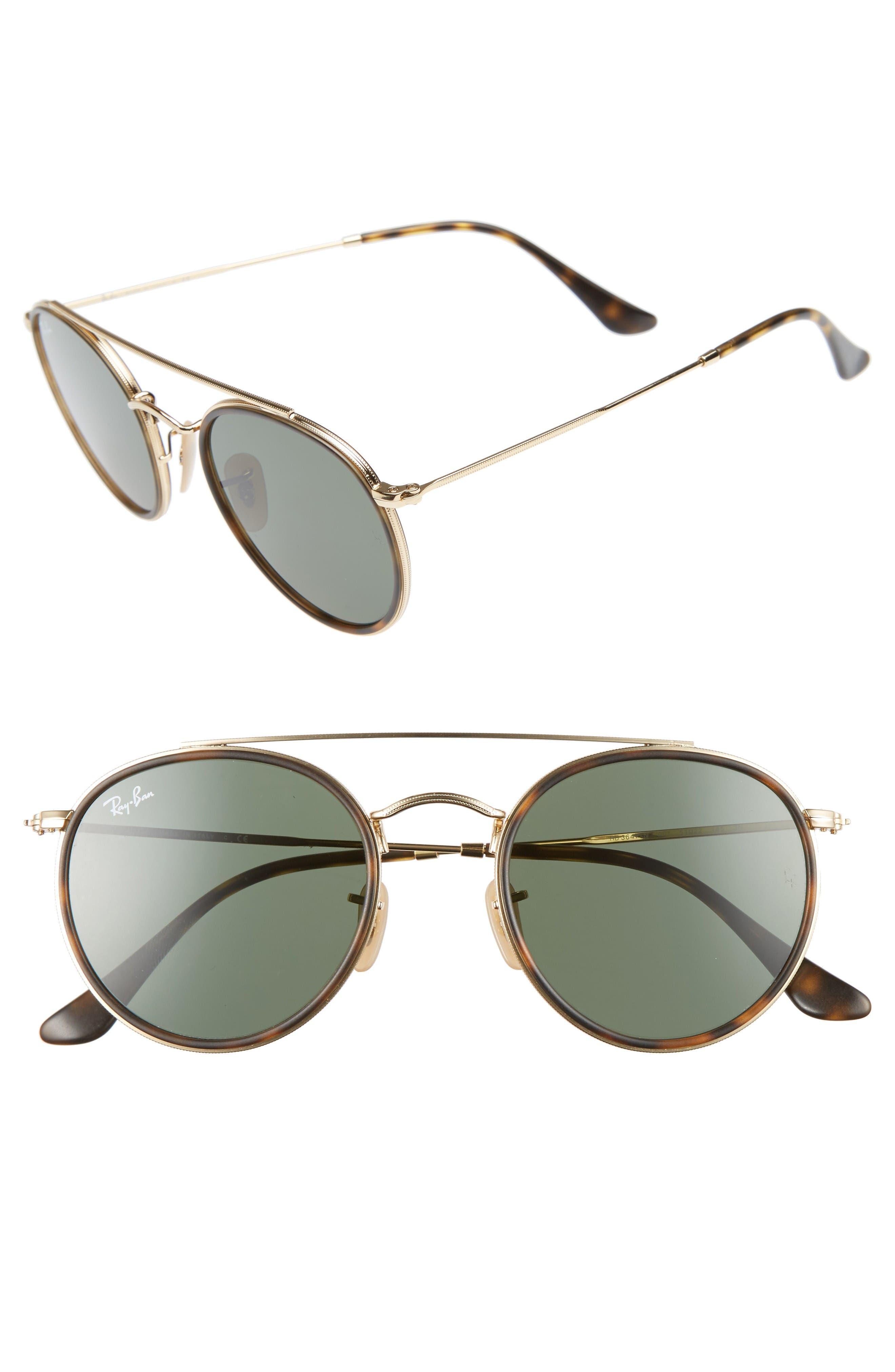 51mm Aviator Sunglasses,                         Main,                         color, Gold/ Green