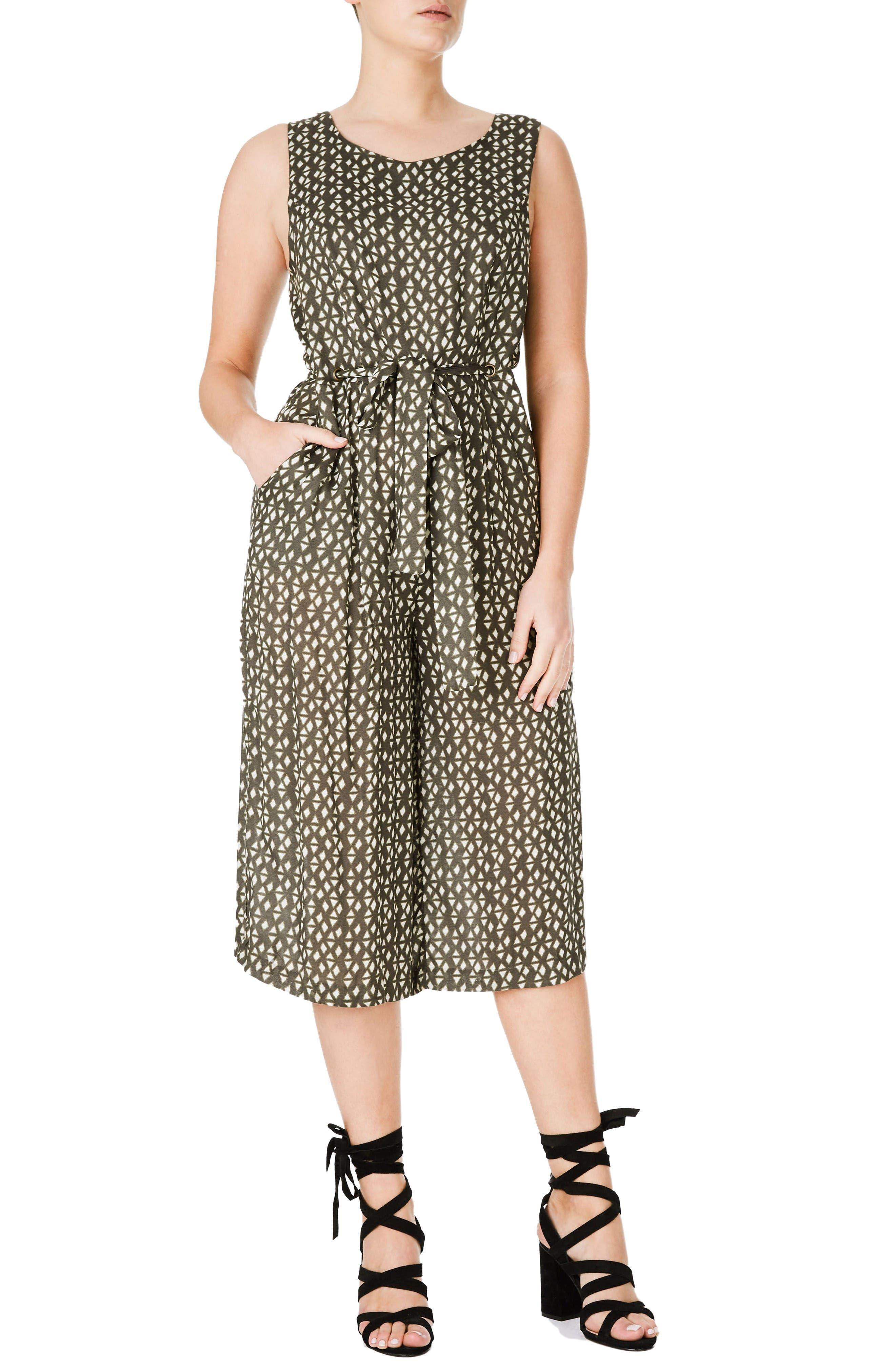 ELVI Diamond Print Culotte Jumpsuit (Plus Size)