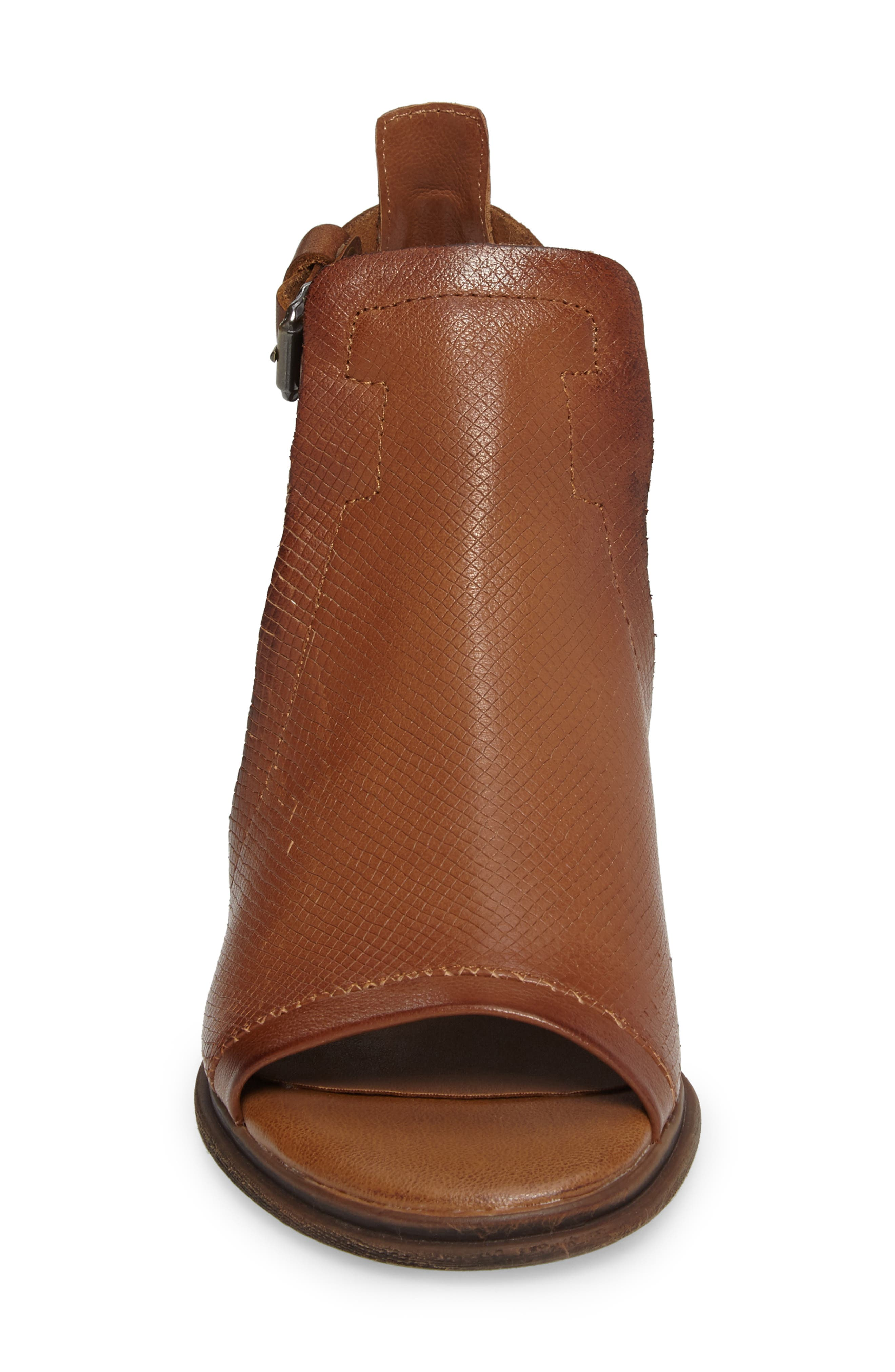 Metaphor Open Side Bootie,                             Alternate thumbnail 4, color,                             Medium Brown Leather