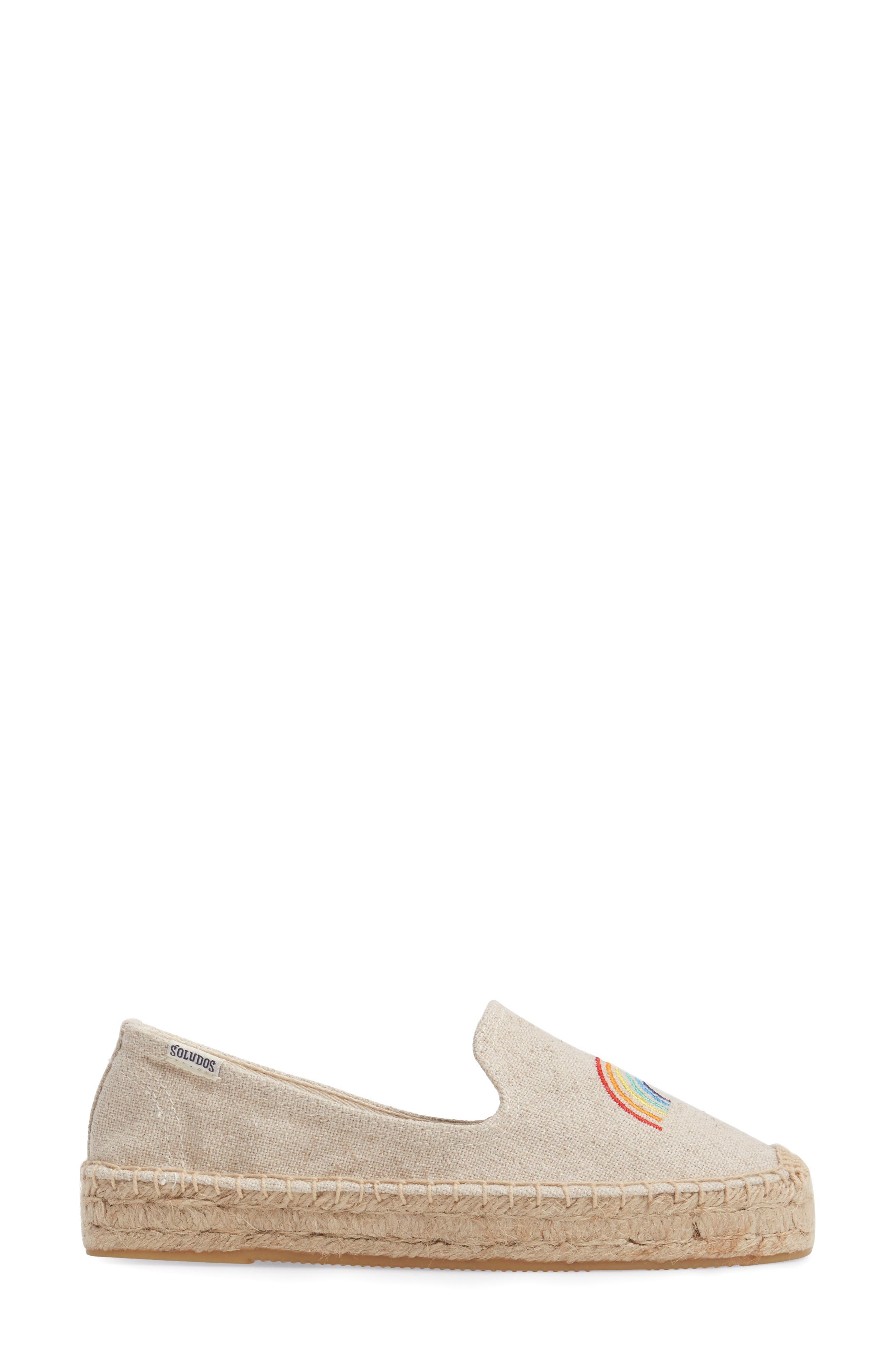 X ASHKAHN Rainbow Embroidered Platform Espadrille,                             Alternate thumbnail 3, color,                             Sand Canvas