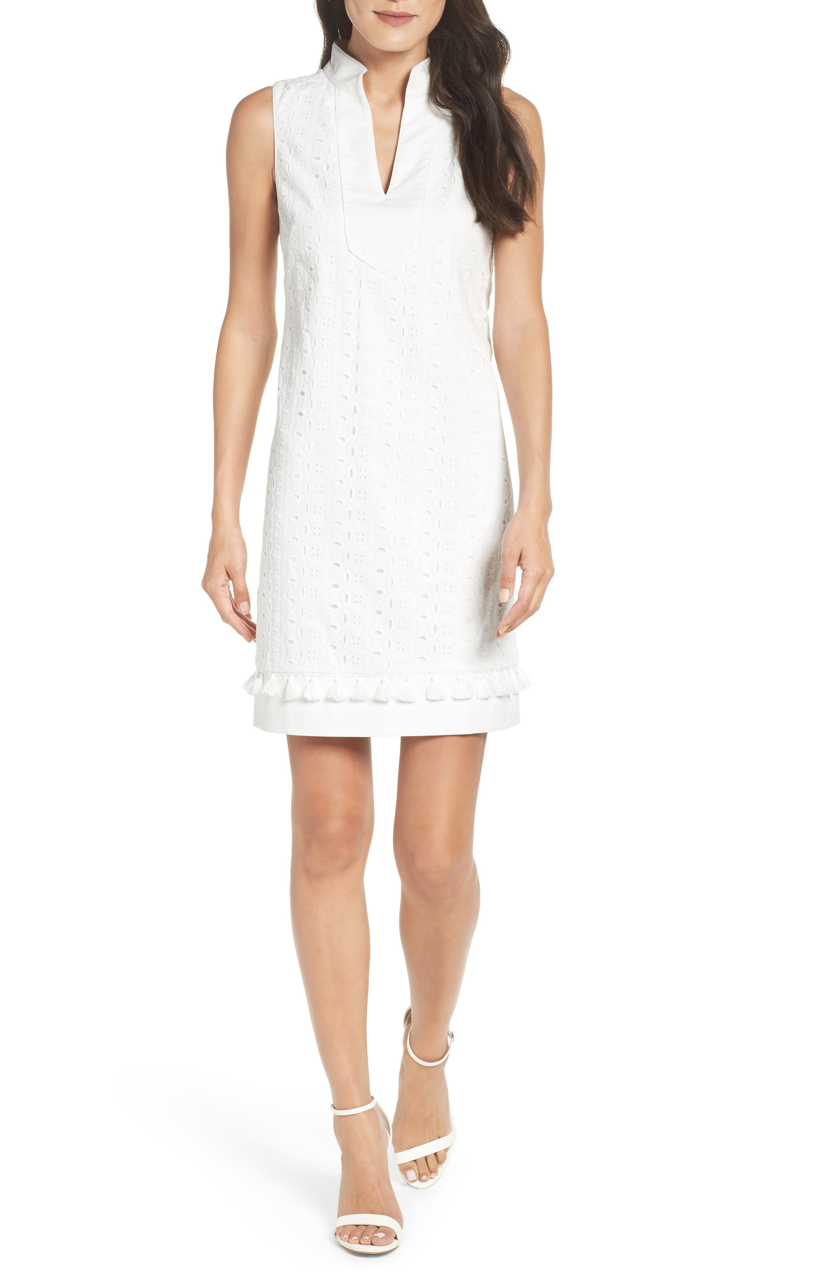 Mandarin Collar Shift Dress,                             Main thumbnail 1, color,                             White