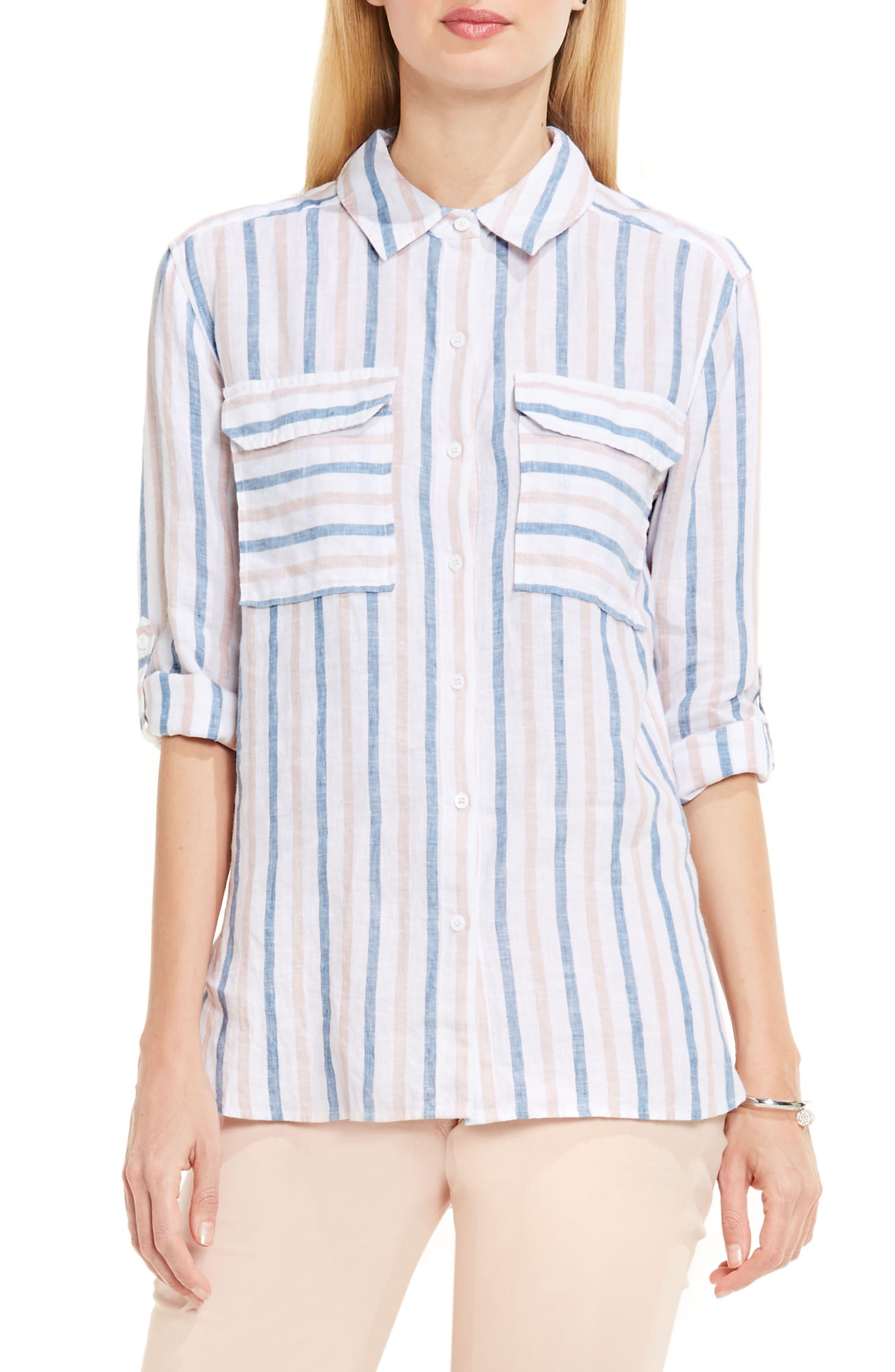 Canopy Stripe Linen Shirt,                         Main,                         color, Blush Pink