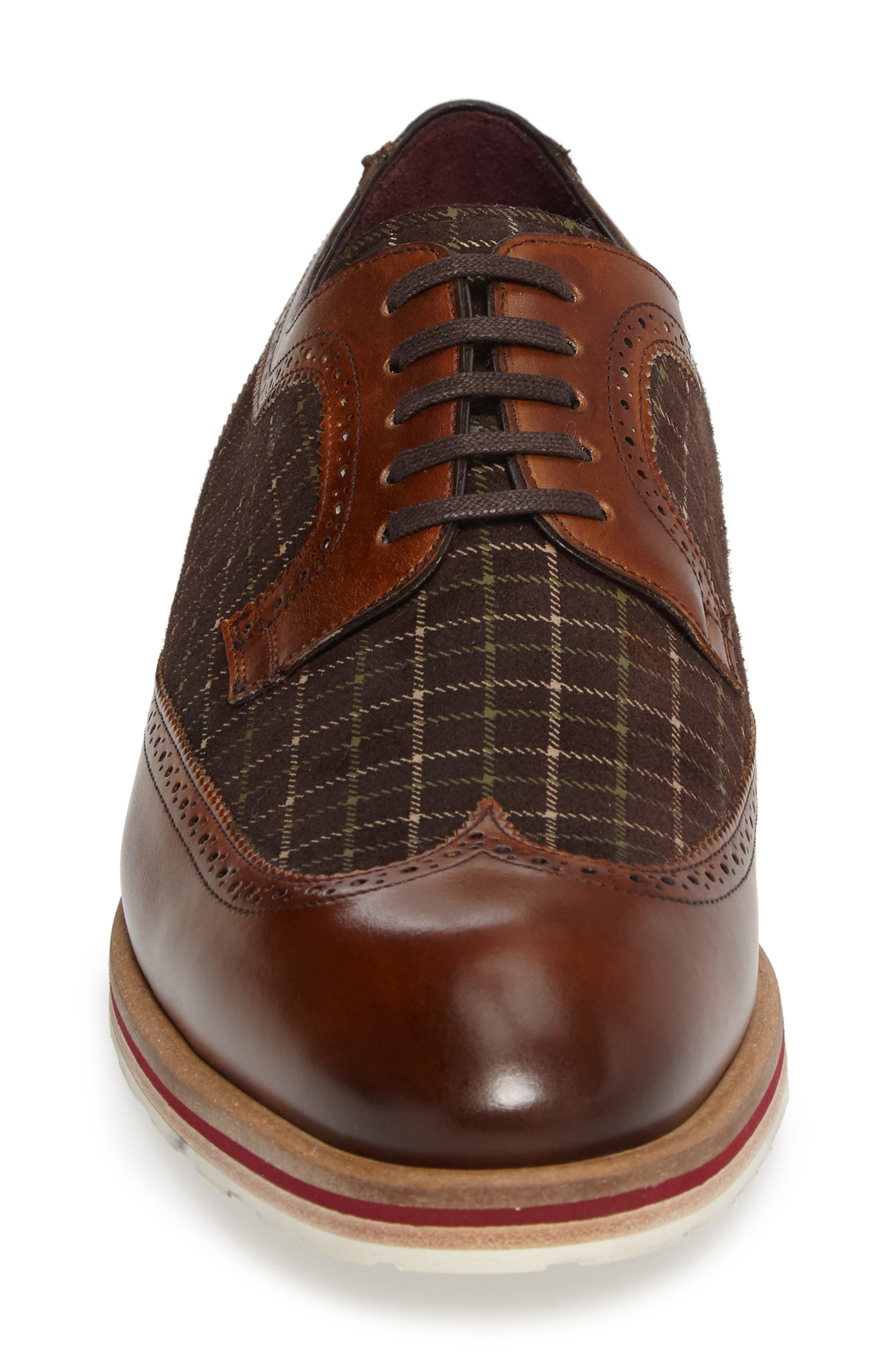 Paulov Tattersall Wingtip,                             Alternate thumbnail 4, color,                             Cognac/ Brown Leather