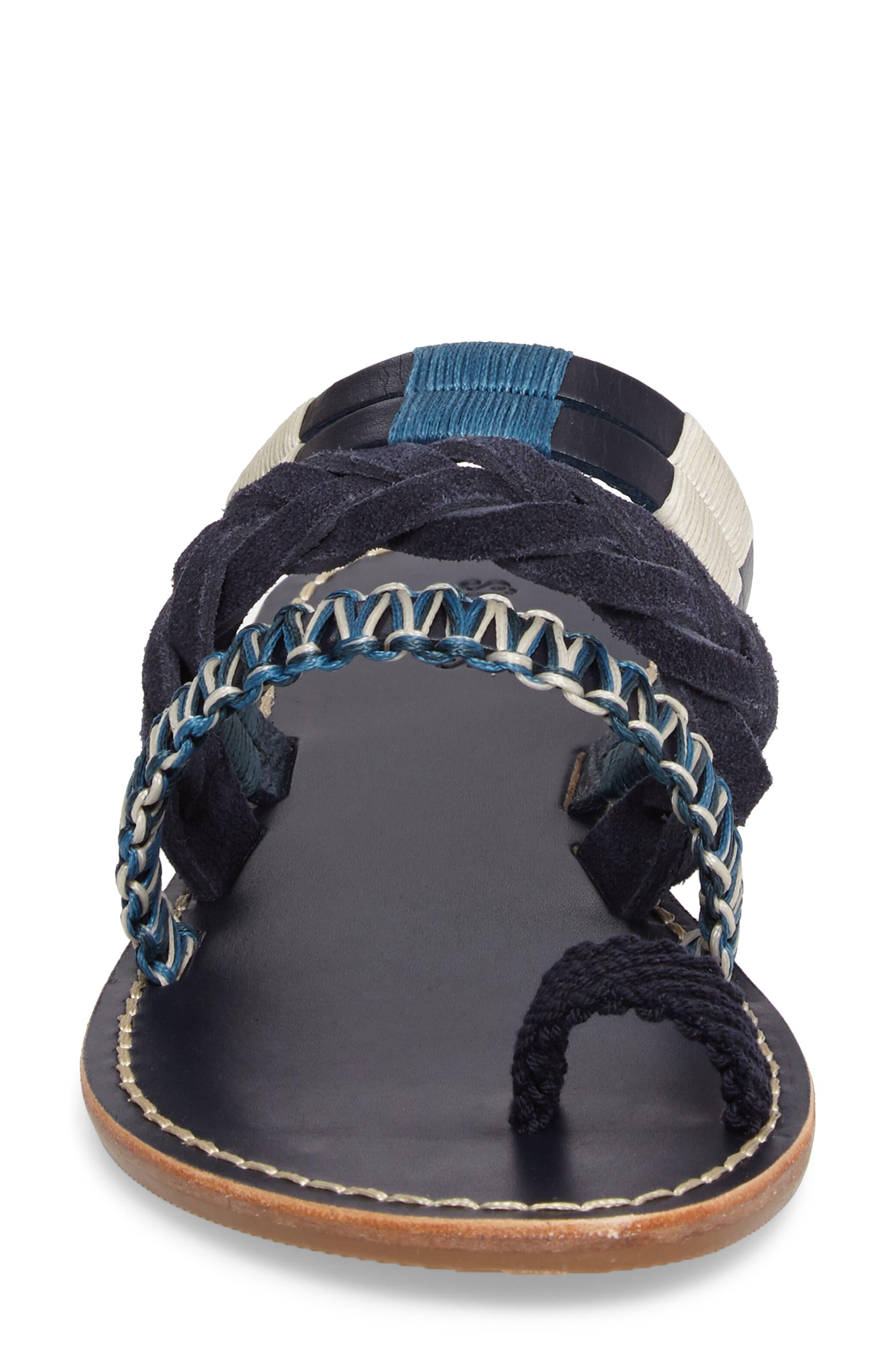 Slide Sandal,                             Alternate thumbnail 5, color,                             Midnight/ Blue Multi Leather