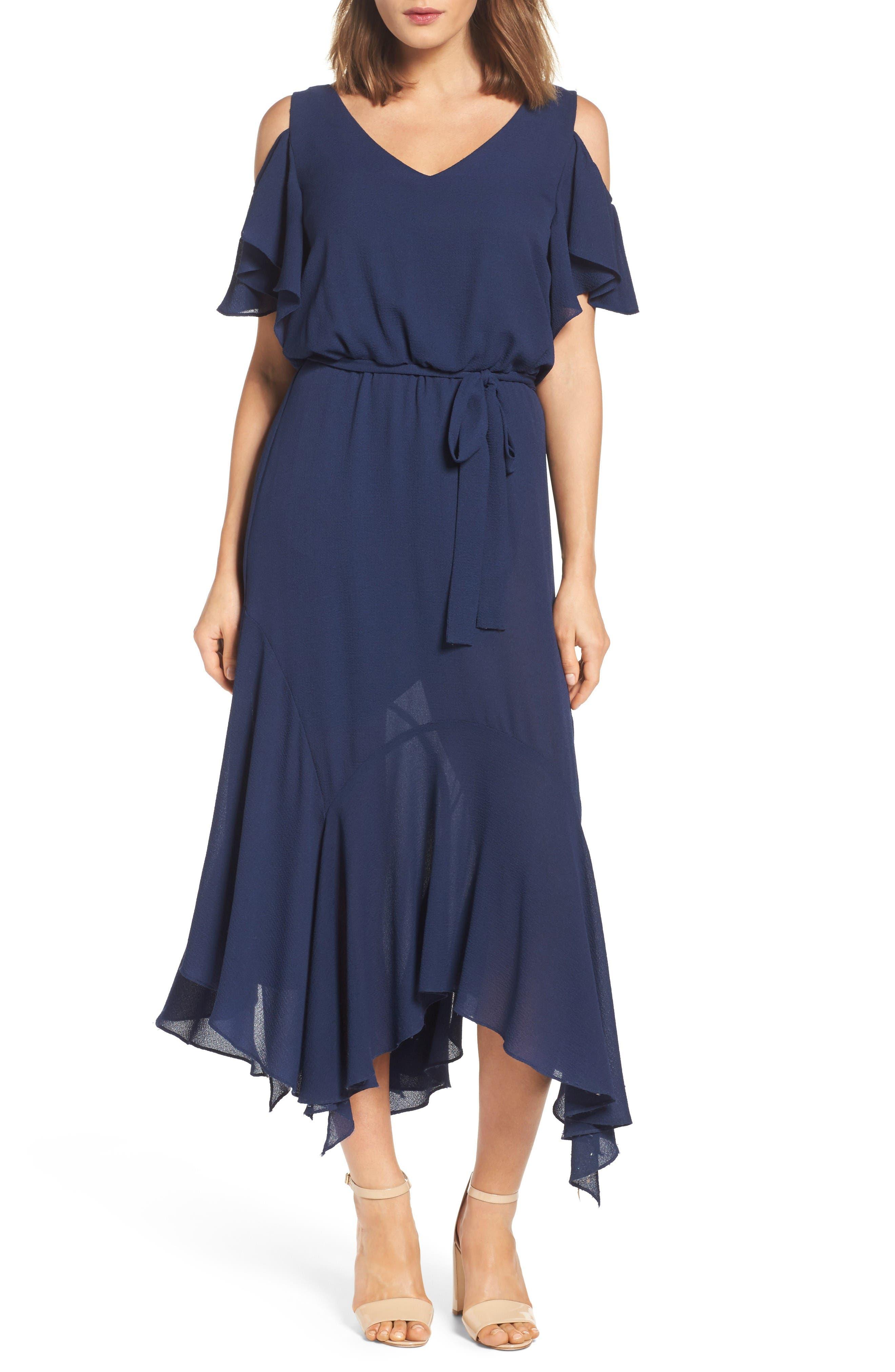 Cold Shoulder Midi Dress,                         Main,                         color, Dark Navy
