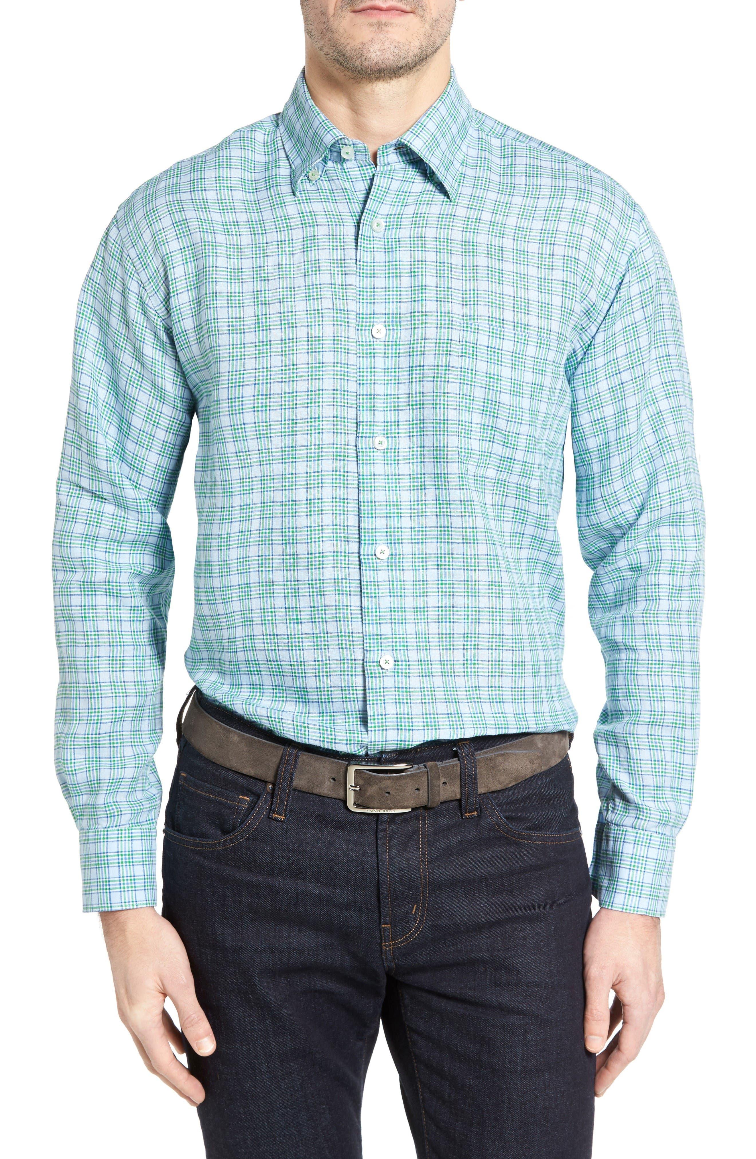 Anderson Classic Fit Sport Shirt,                         Main,                         color, Aqua