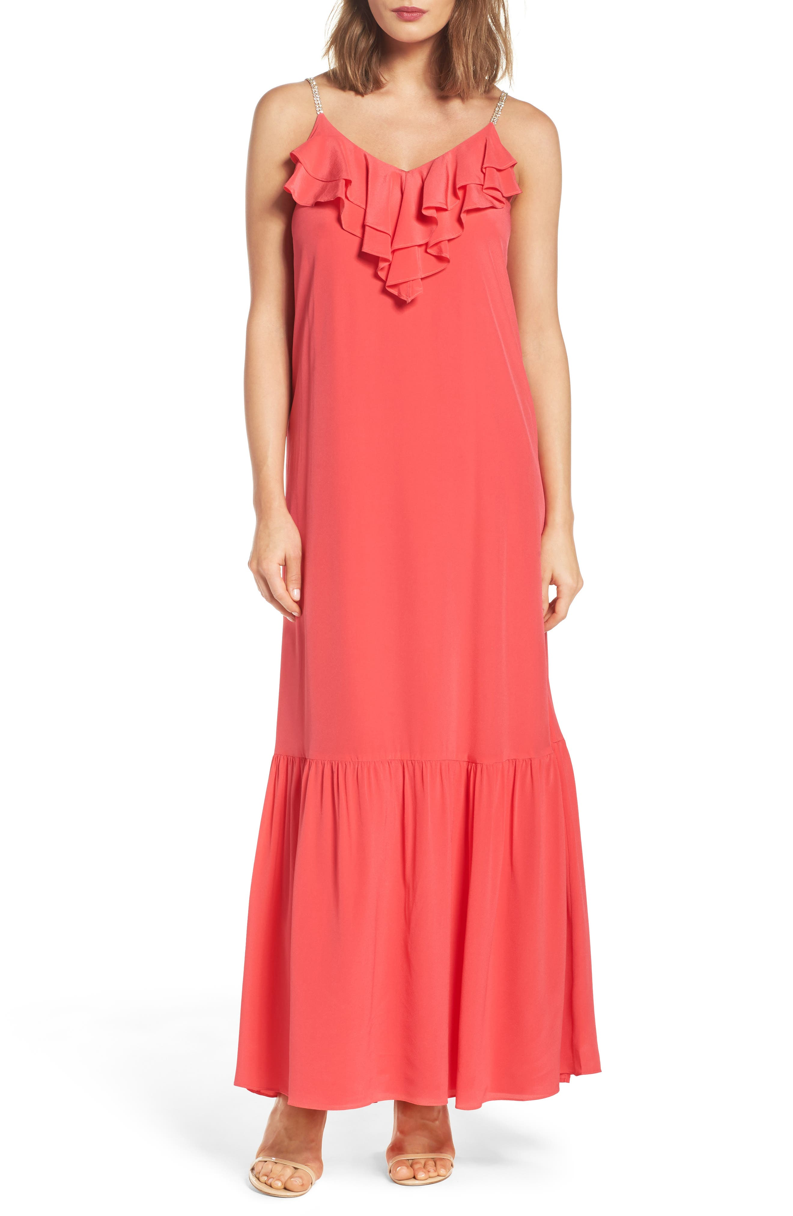 Ruffle Silk Maxi Dress,                         Main,                         color, Red