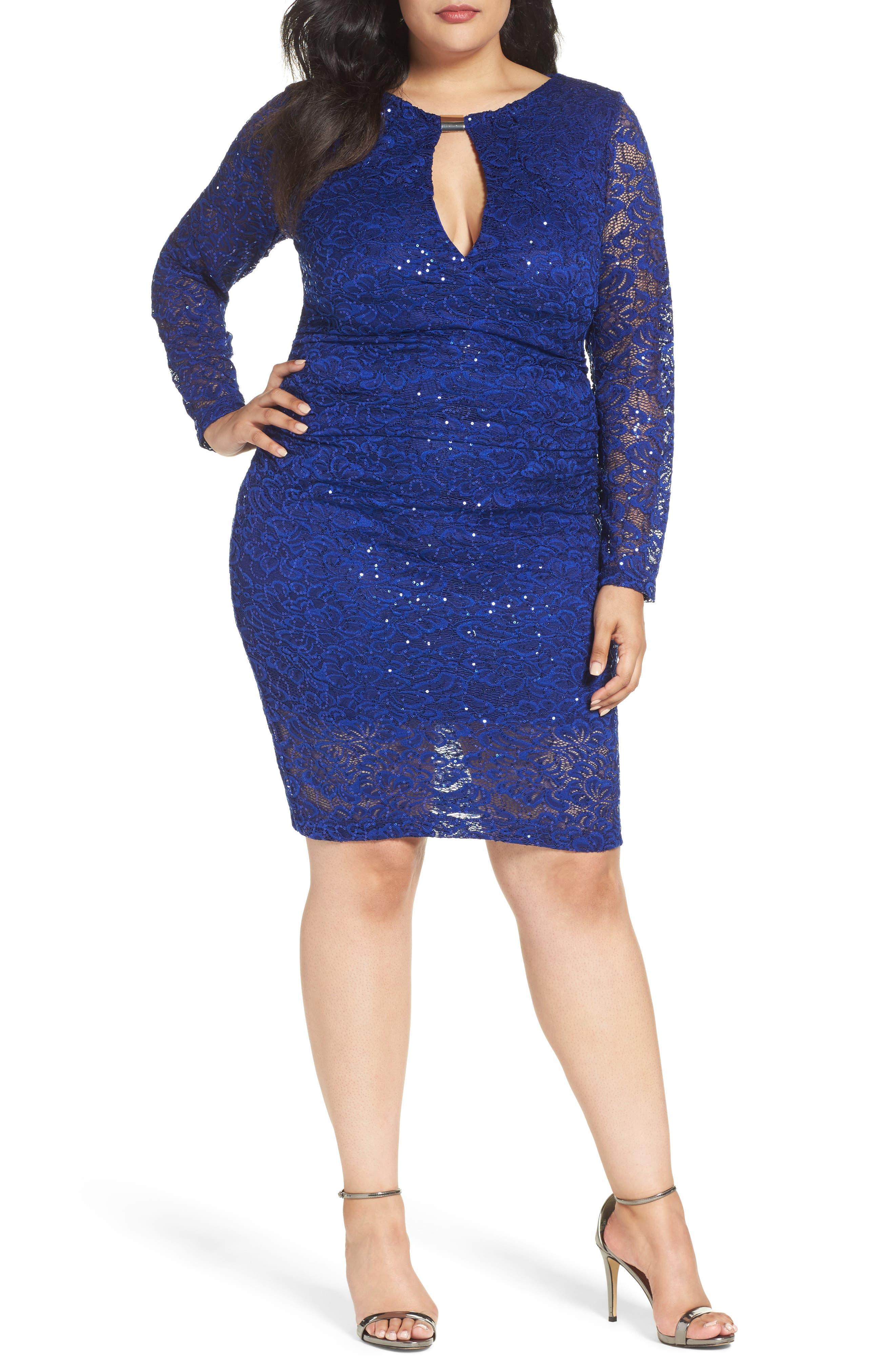 Keyhole Lace Sheath Dress,                         Main,                         color, Royal