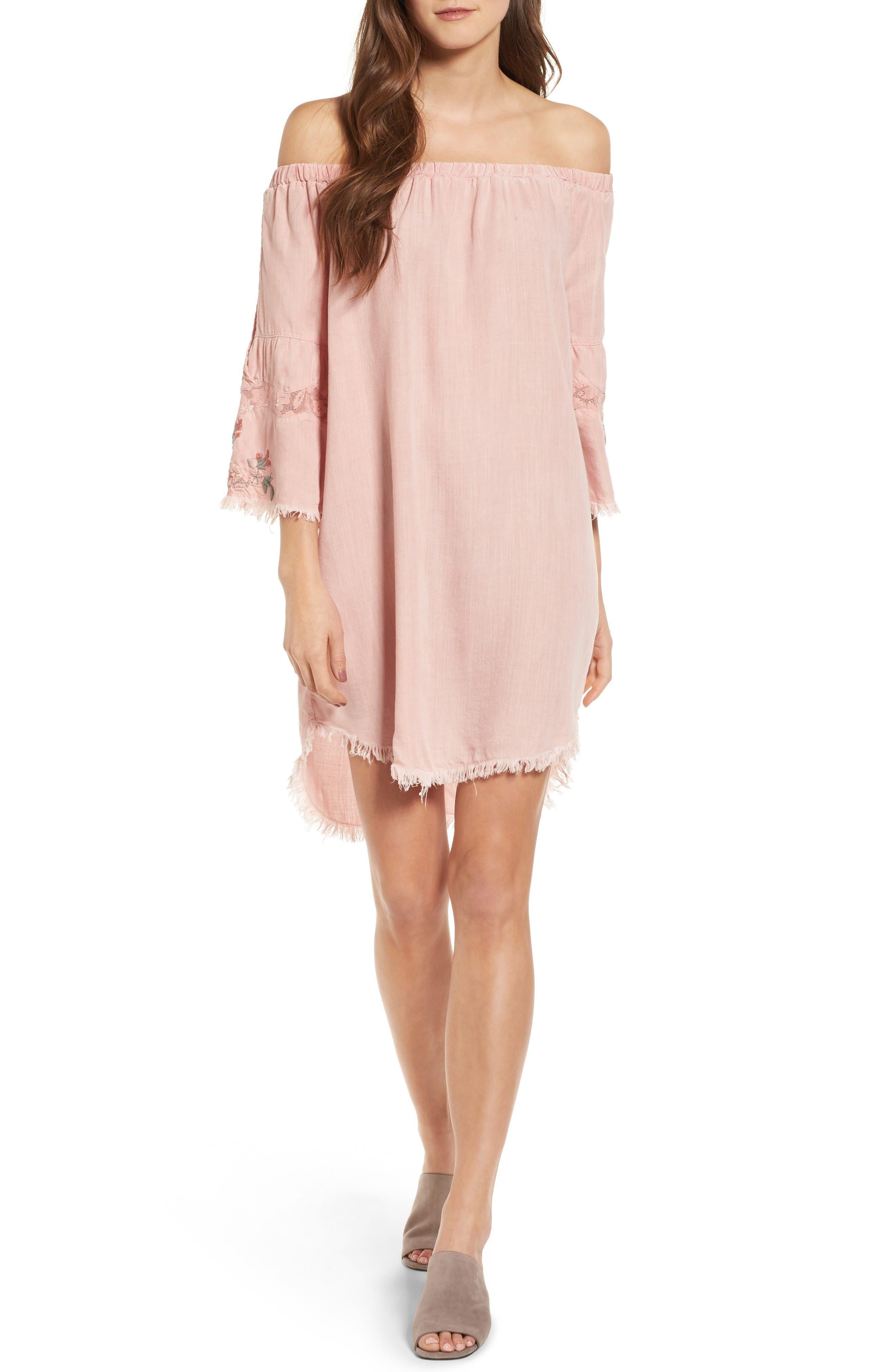 Off the Shoulder Denim Dress,                         Main,                         color, Dusty Pink
