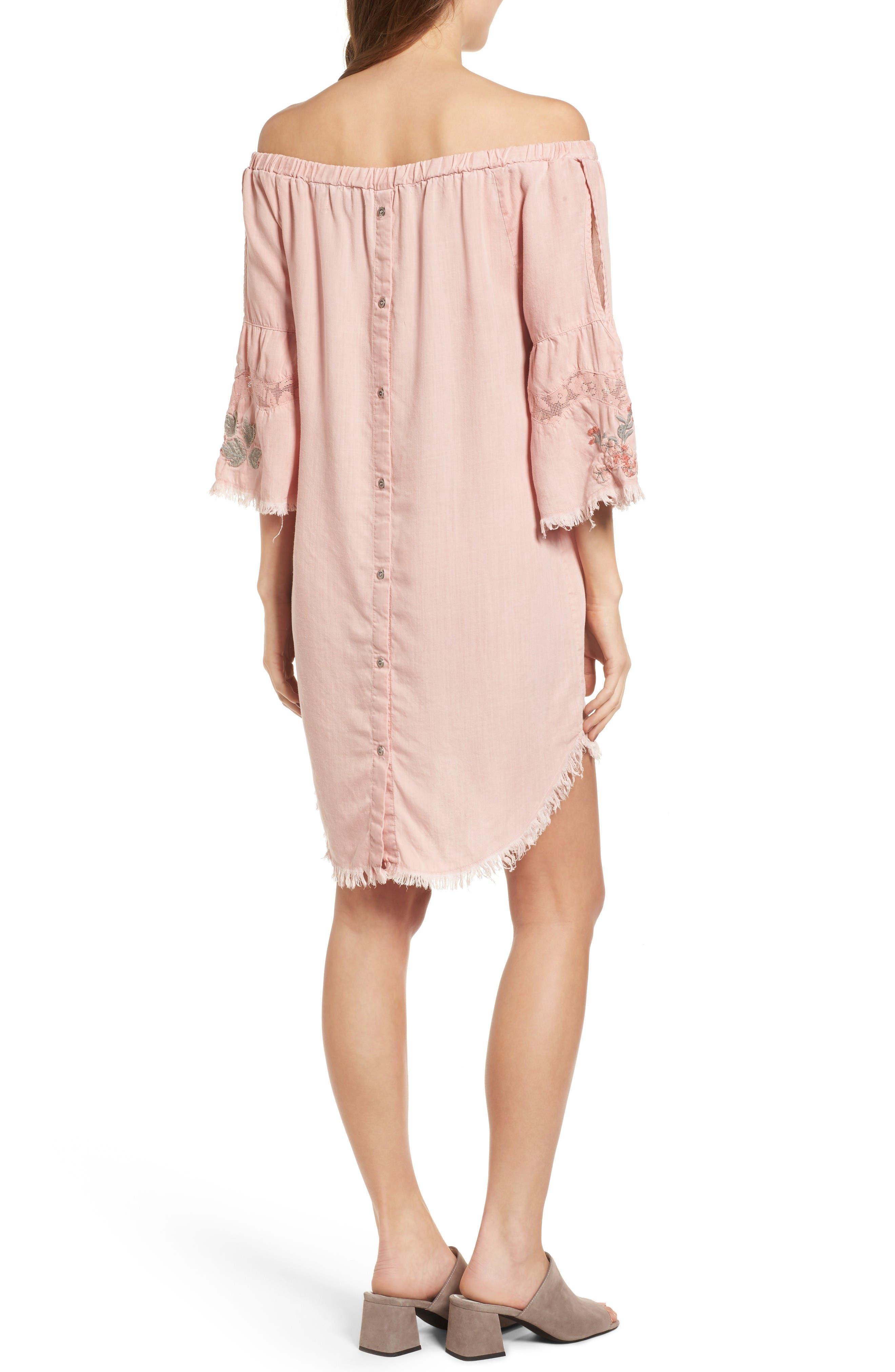 Off the Shoulder Denim Dress,                             Alternate thumbnail 2, color,                             Dusty Pink