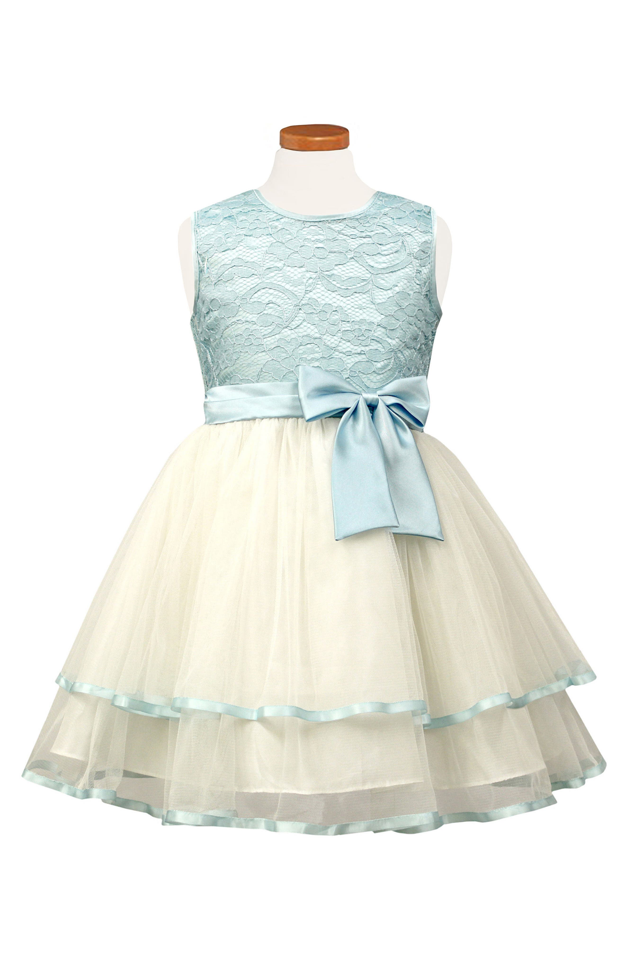 Tiered Lace & Tulle Dress,                         Main,                         color, Blue