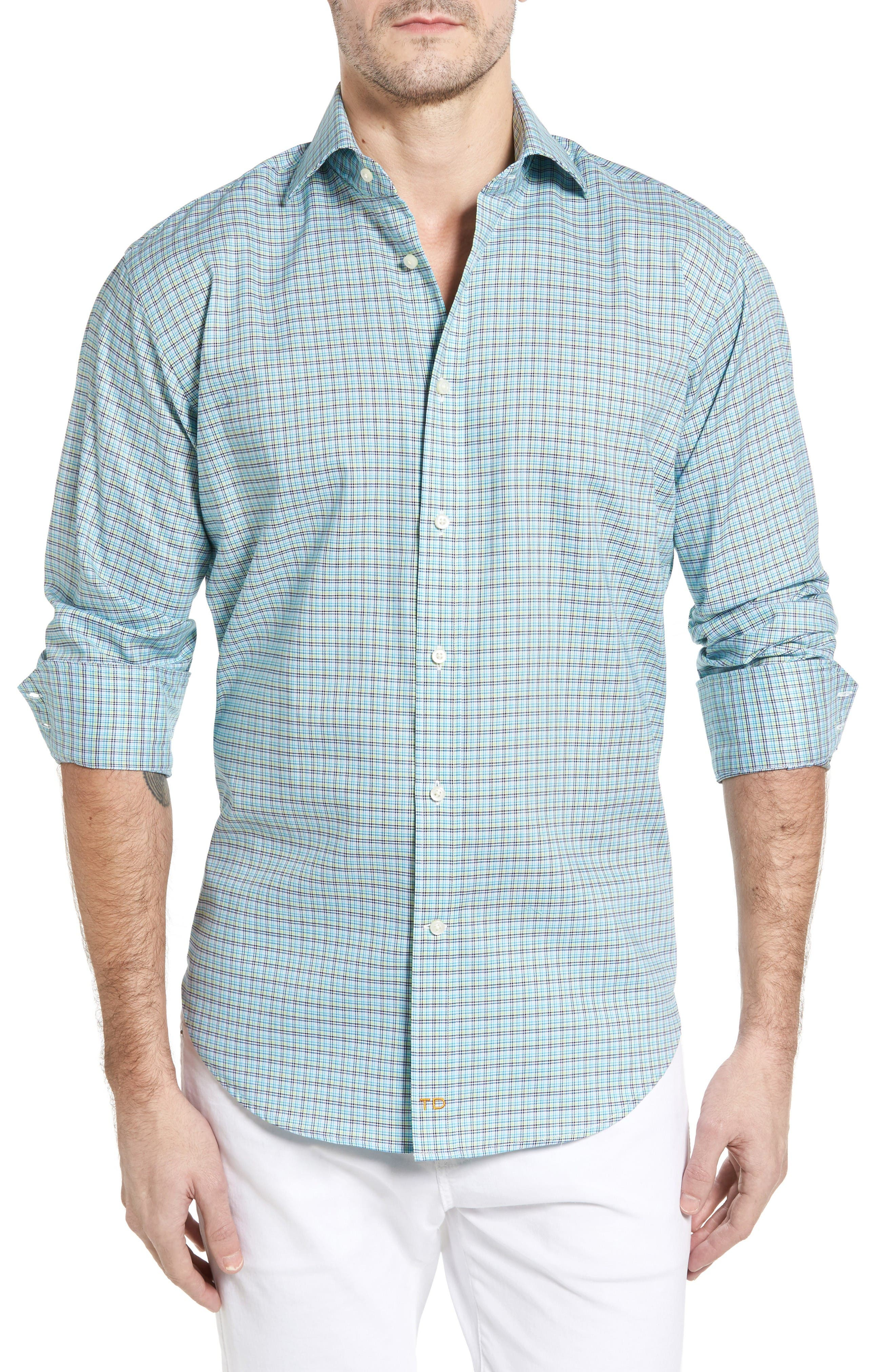 Classic Fit Textured Check Sport Shirt,                         Main,                         color, Aqua