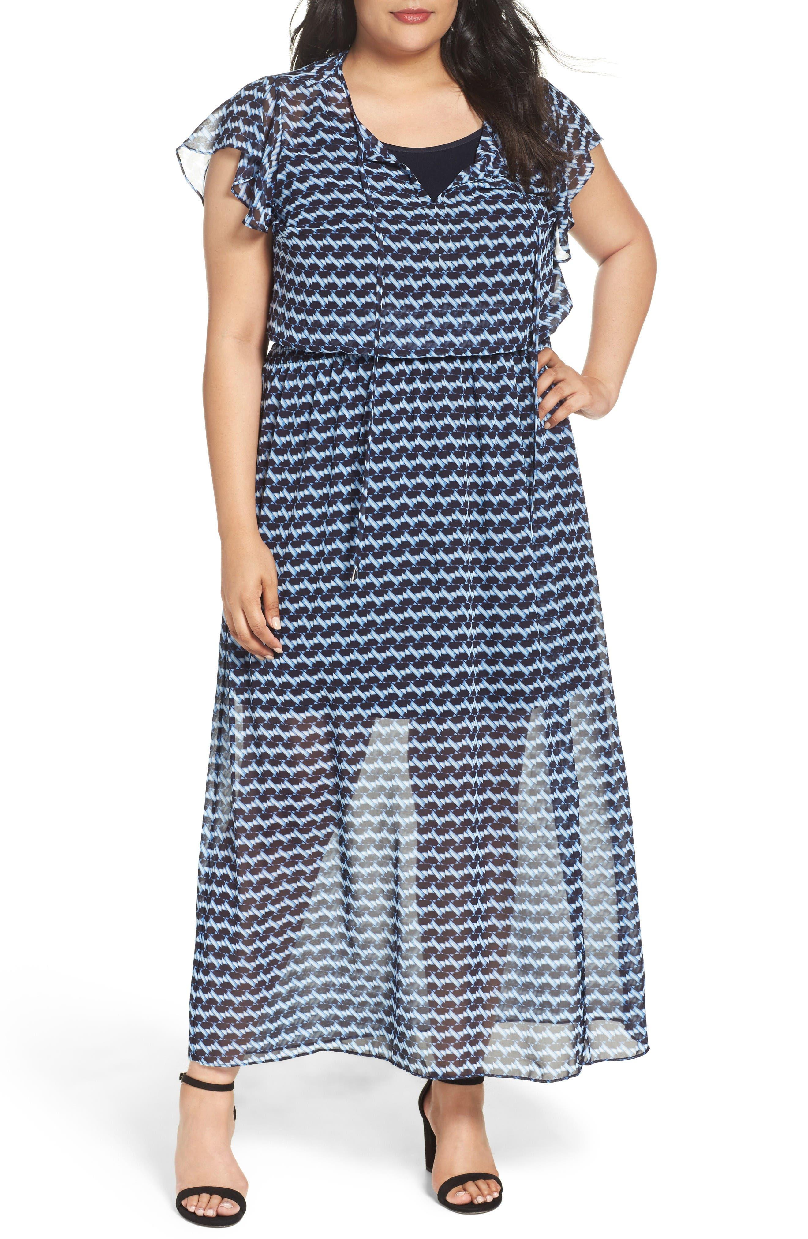 London Times Ruffle Sleeve Chiffon Maxi Dress (Plus Size)