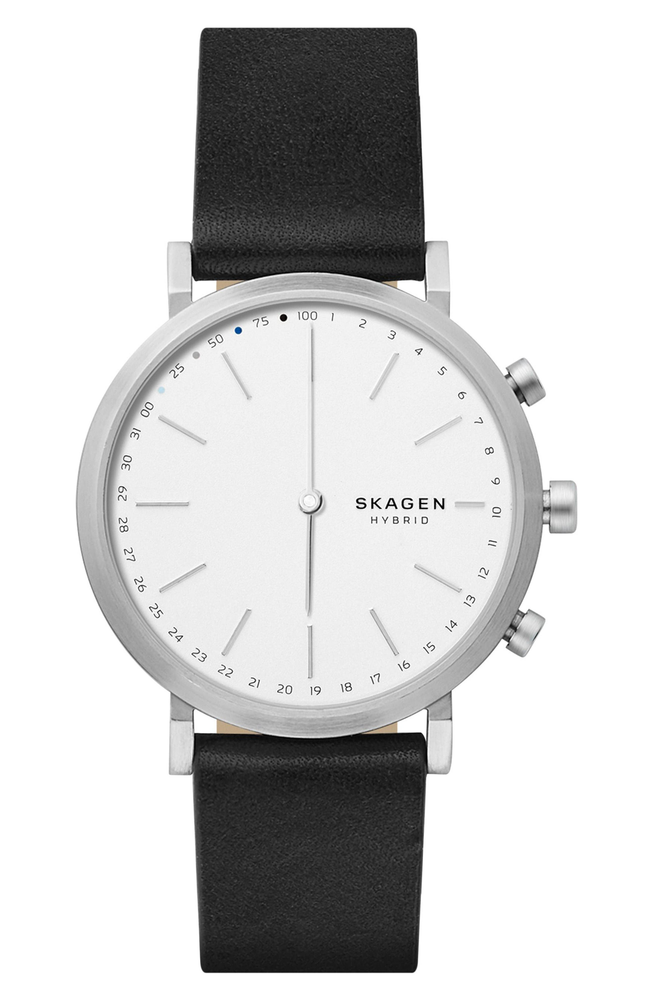 Main Image - Skagen Hald Hybrid Leather Strap Smart Watch, 40mm