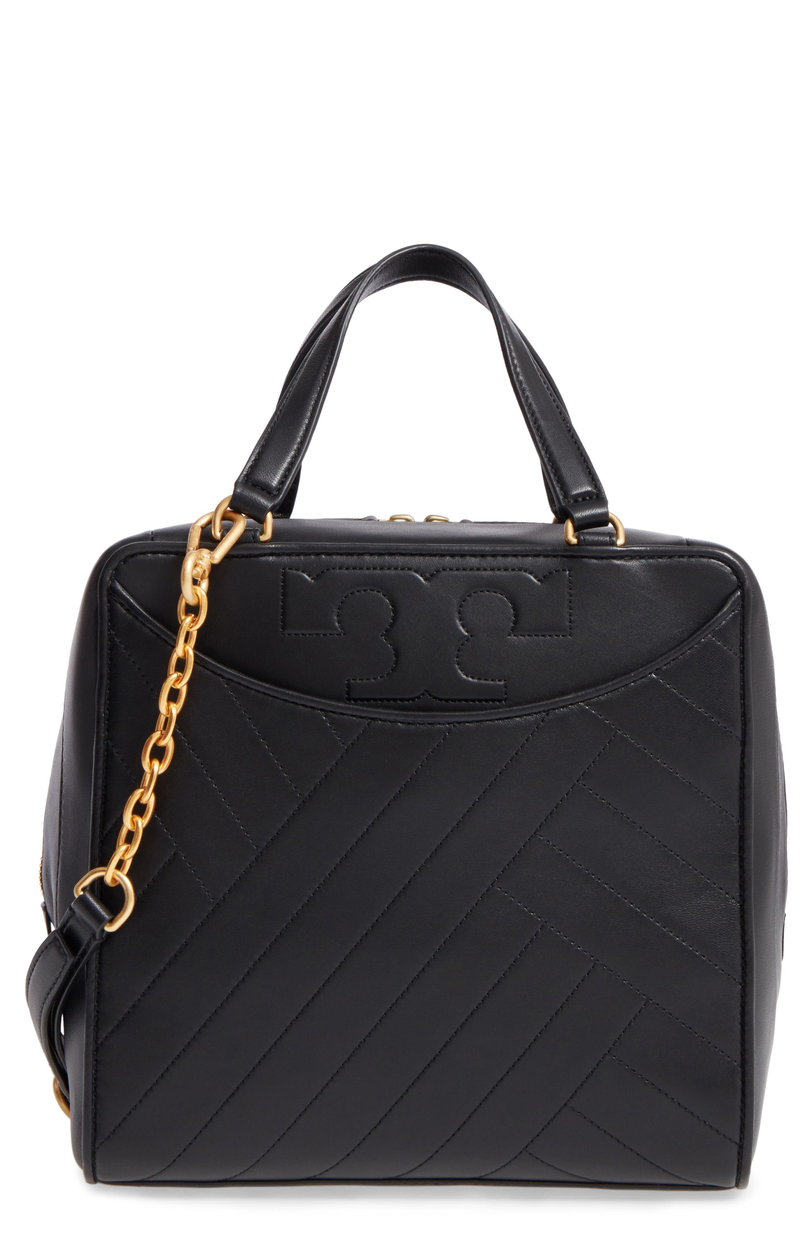 Alternate Image 1 Selected - Tory Burch Chevron Quilted Leather Satchel