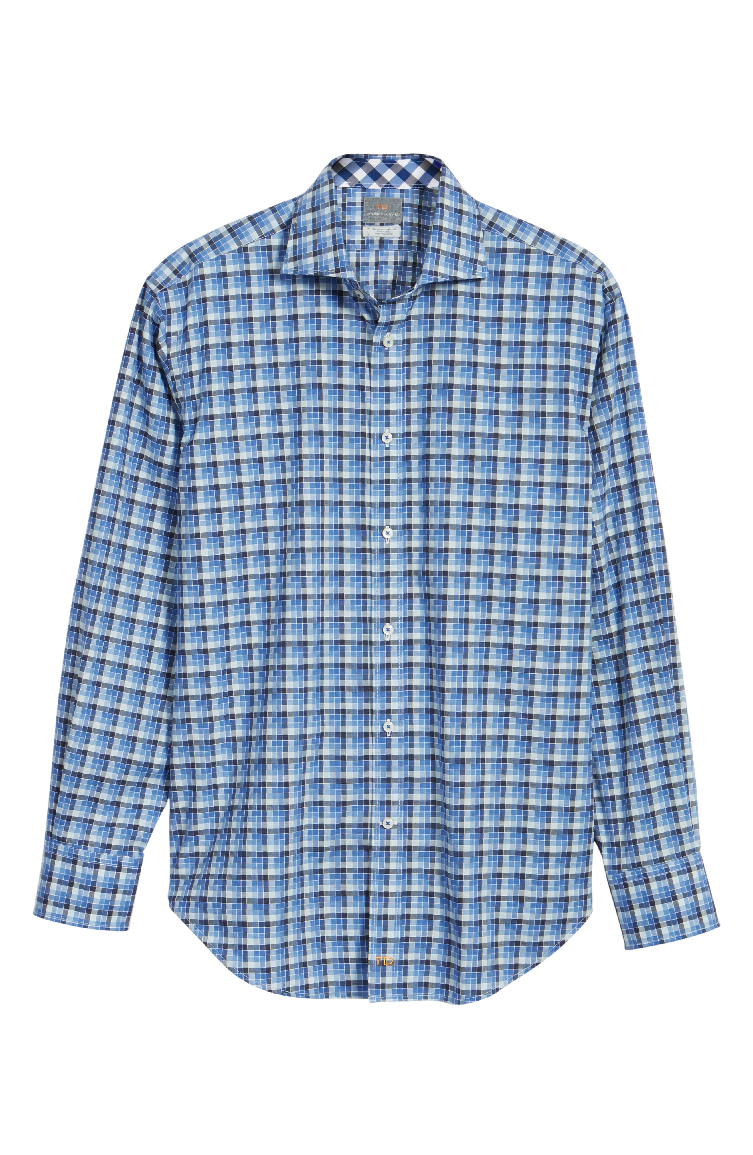 Classic Fit Funky Check Sport Shirt,                             Alternate thumbnail 6, color,                             Blue