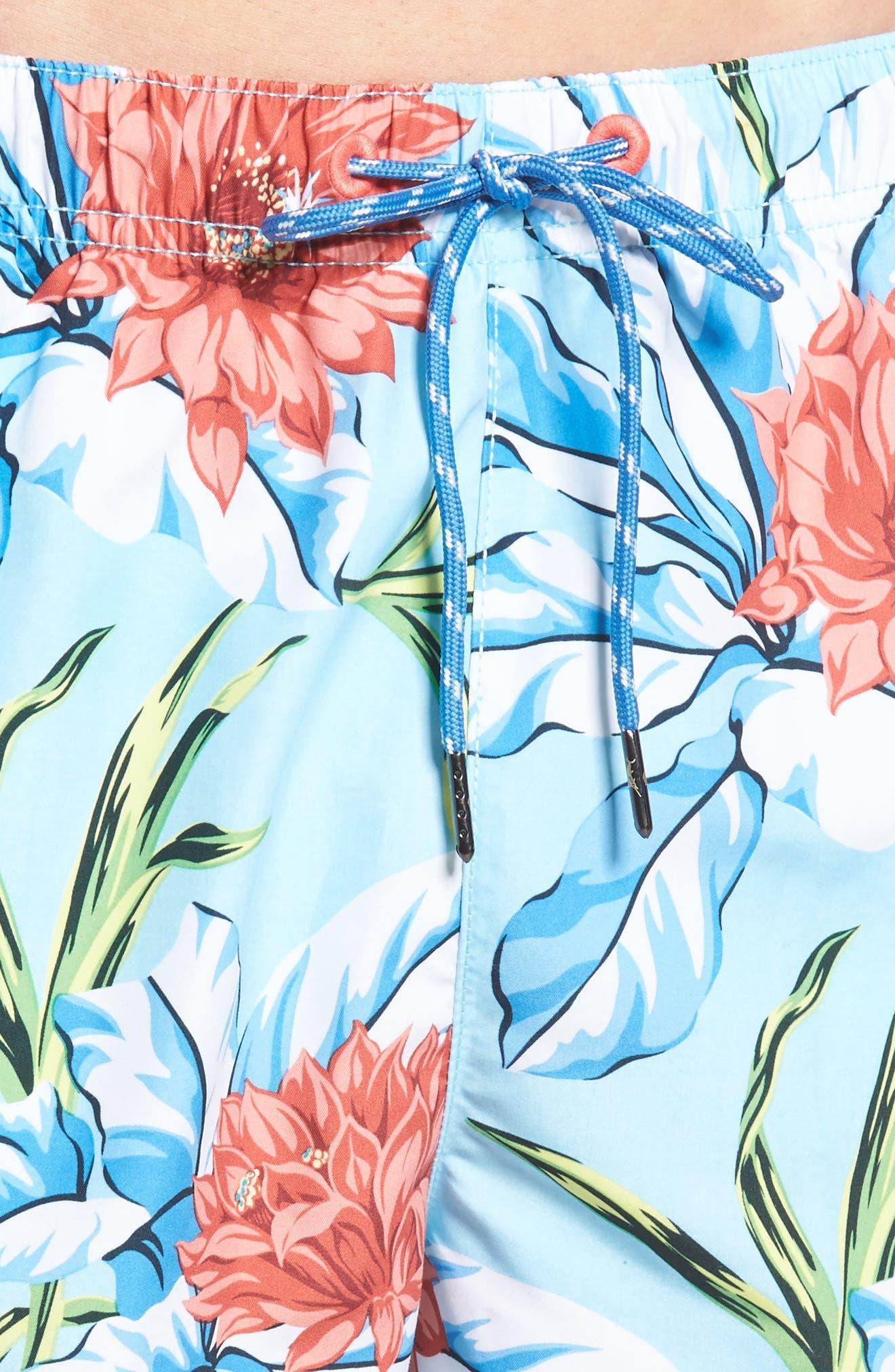 Naples Fira Floral Swim Trunks,                             Alternate thumbnail 4, color,                             Shasta