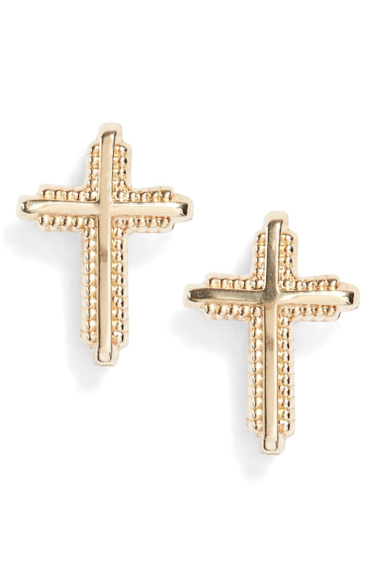 Cross 14k Gold Earrings,                         Main,                         color, Gold