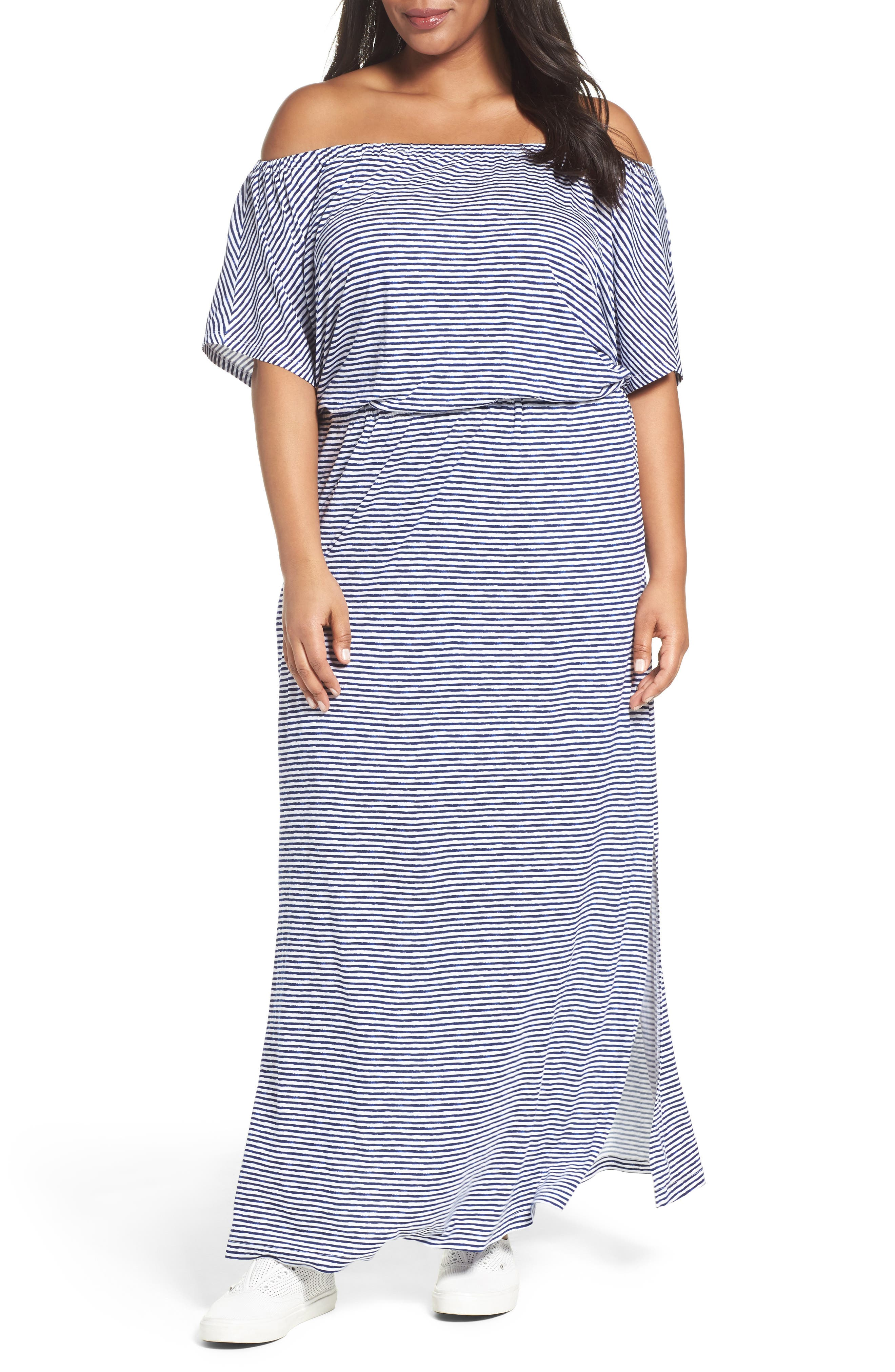 Sejour Off the Shoulder Maxi Dress (Plus Size)