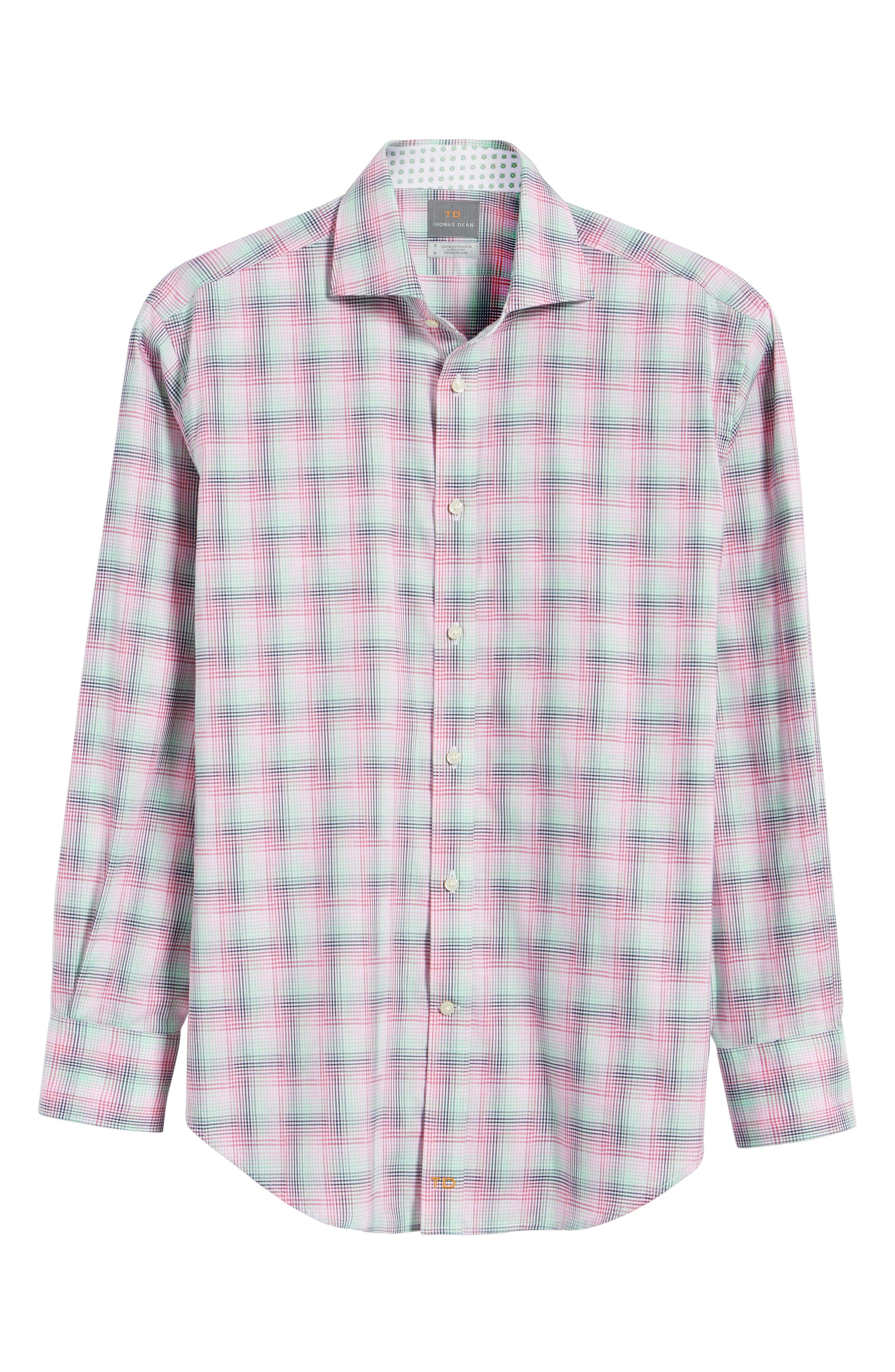 Alternate Image 6  - Thomas Dean Classic Fit Funky Plaid Sport Shirt (Regular)