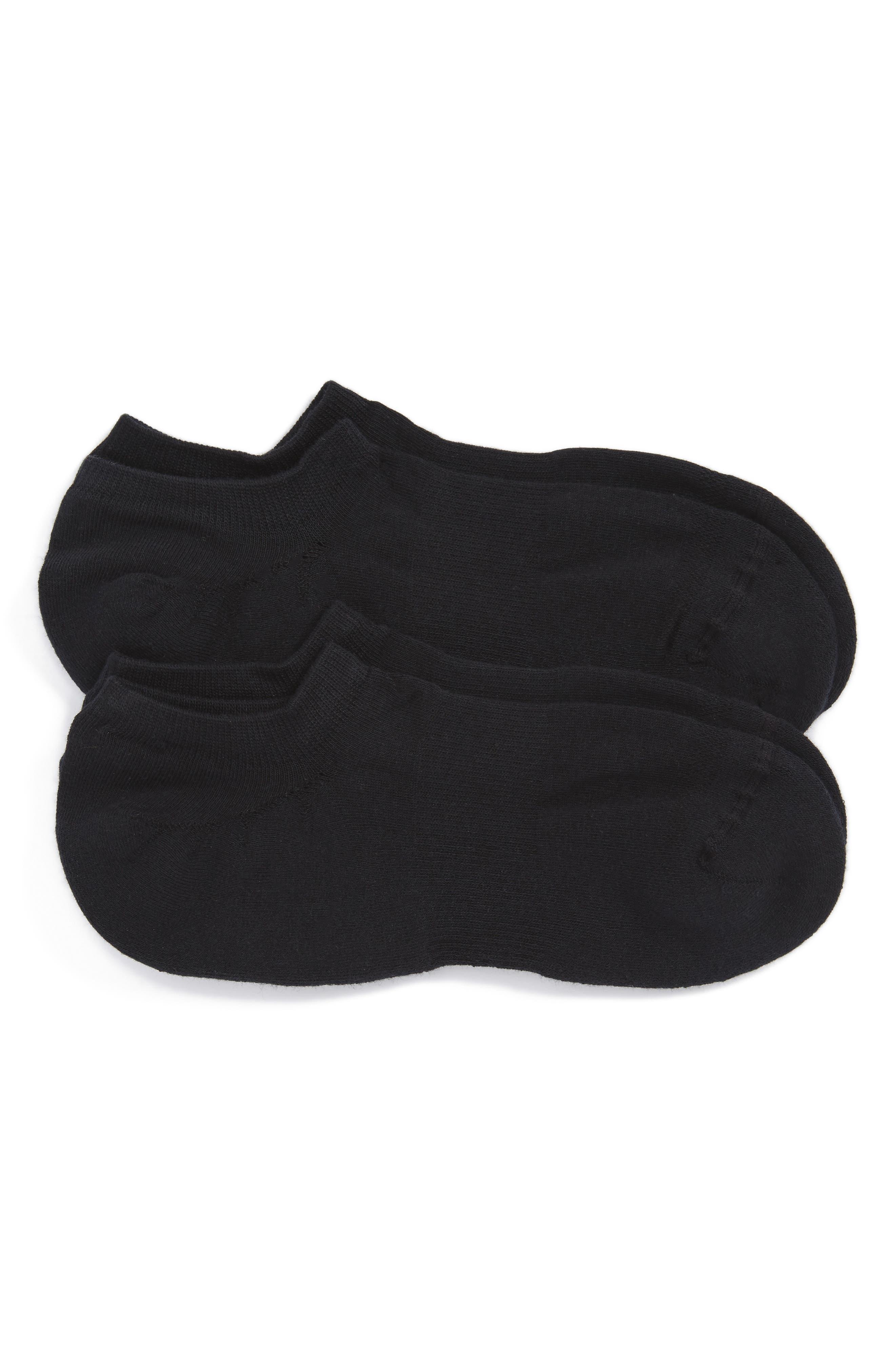 2-Pack Sneaker Liner Socks,                         Main,                         color, Black