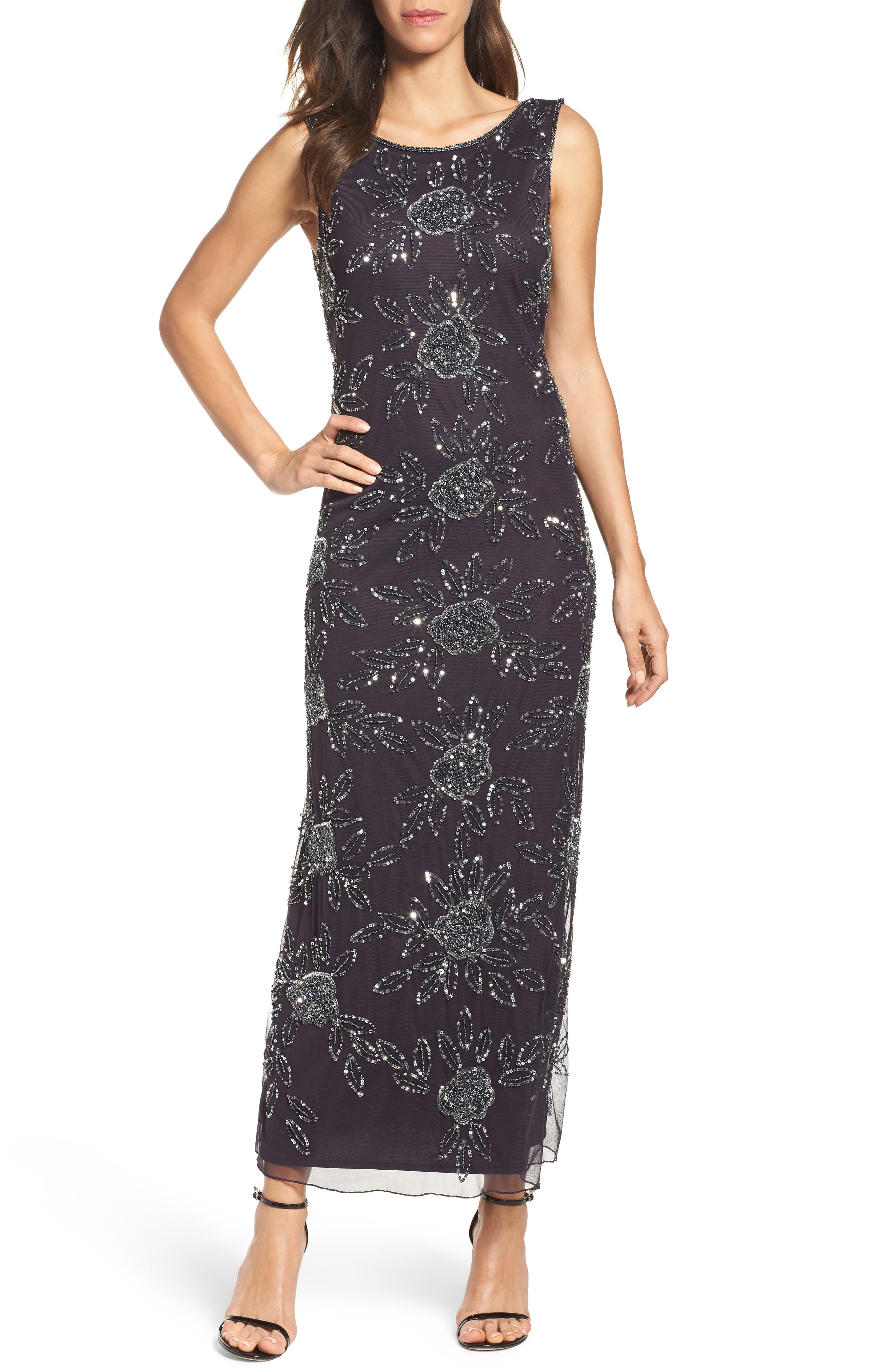 Beaded Mesh Gown,                         Main,                         color, Eggplant