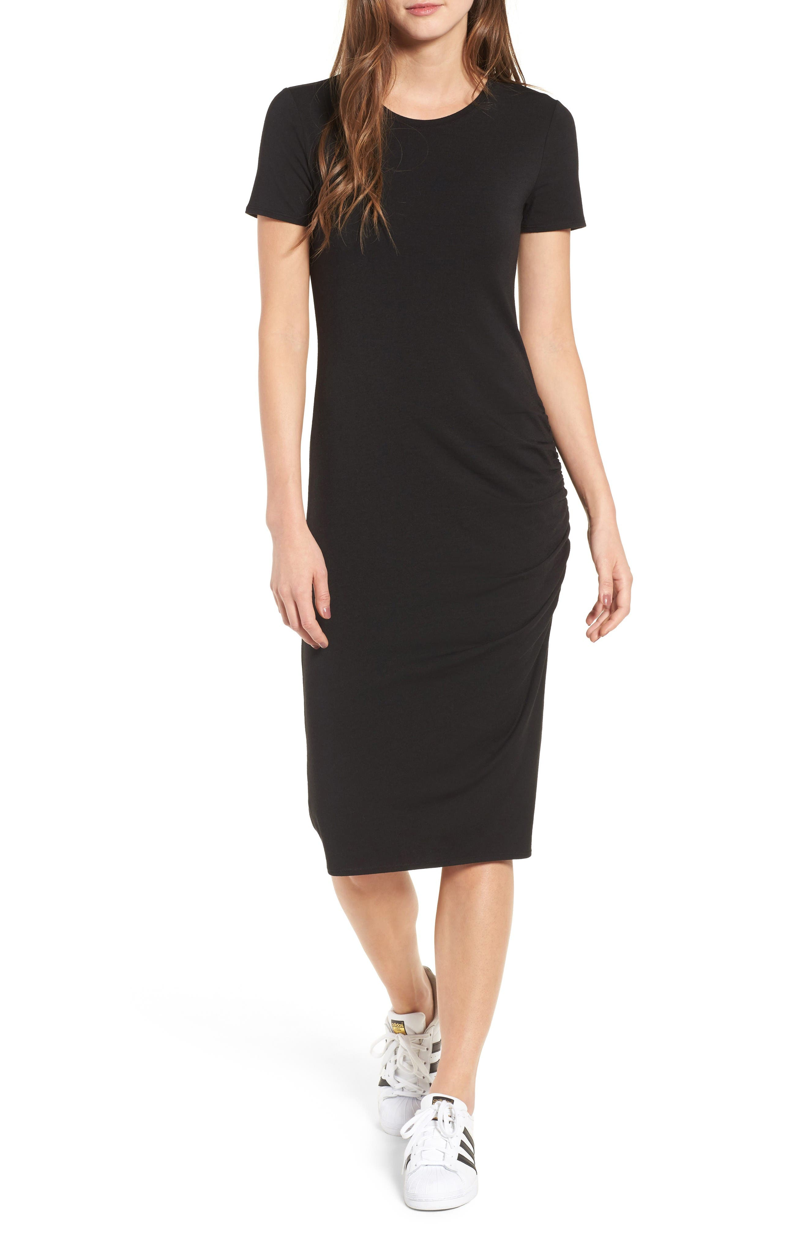 Side Ruched Body-Con Dress,                         Main,                         color, Black