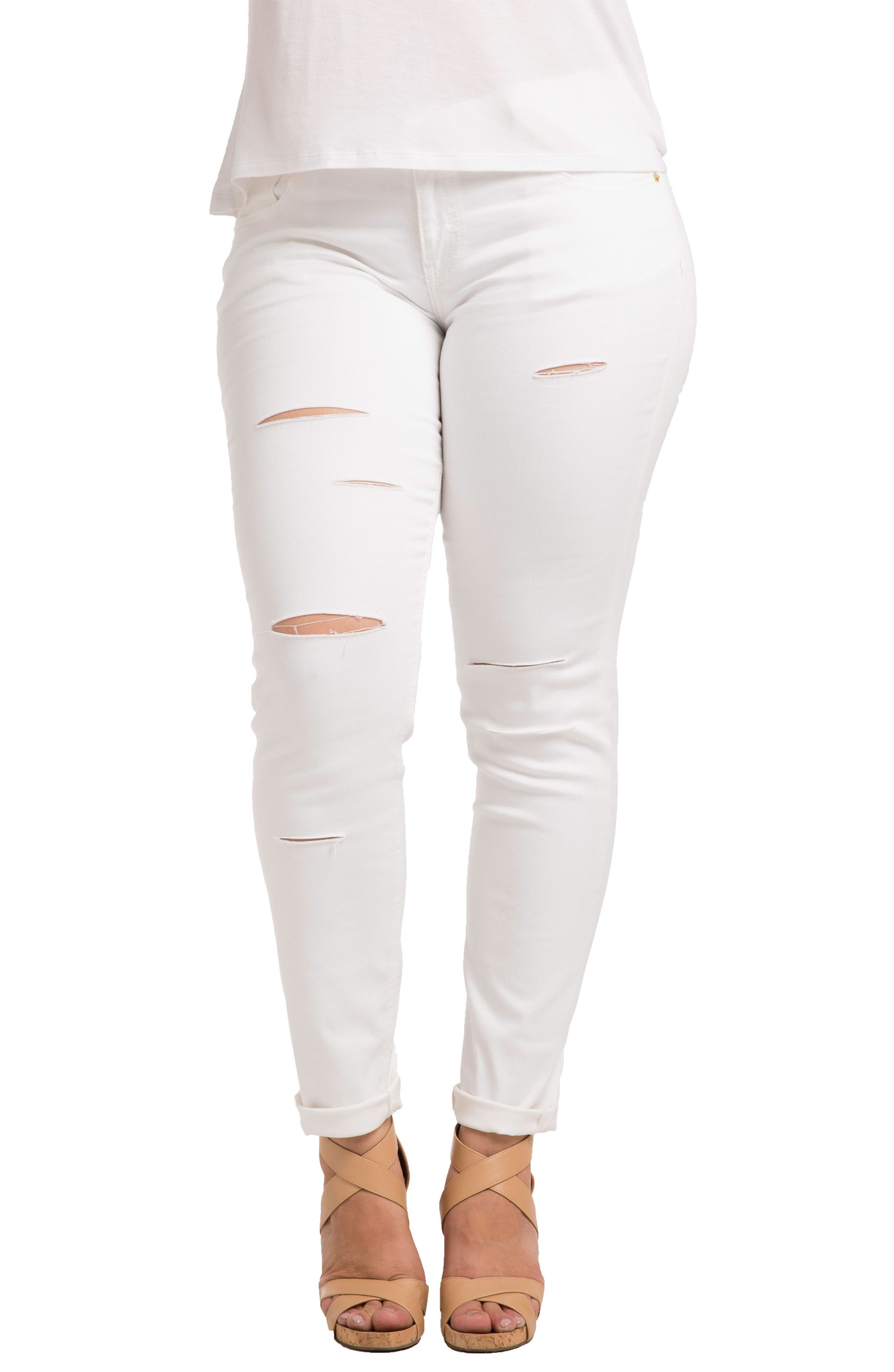 Destroyed Stretch Skinny Boyfriend Jeans,                         Main,                         color, White