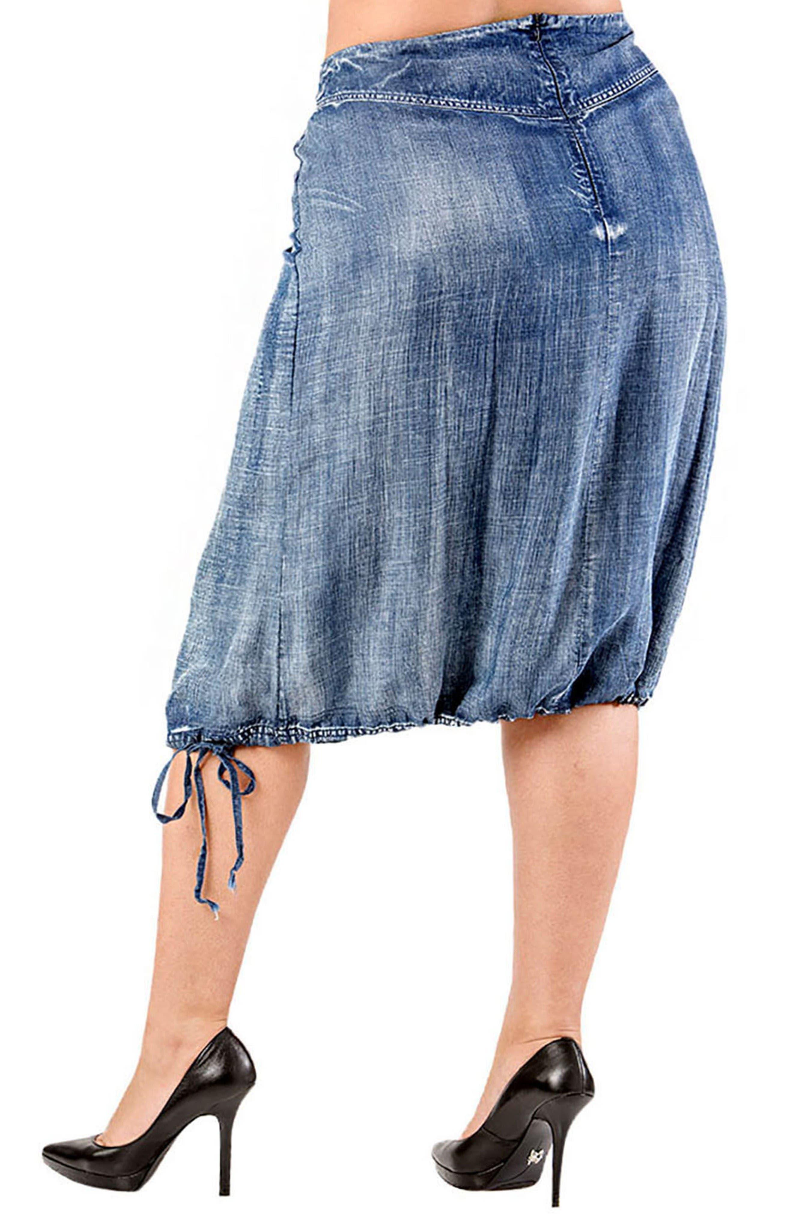 Drawstring Hem Tencel<sup>®</sup>Lyocell Skirt,                             Alternate thumbnail 2, color,                             Blue