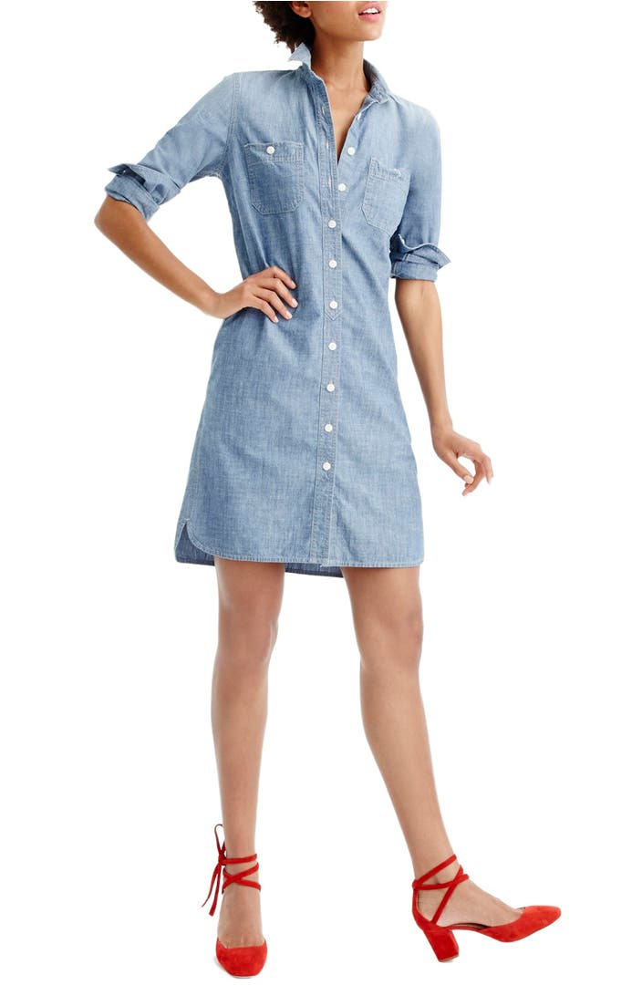 J crew long sleeve chambray shirtdress nordstrom for Jcrew com