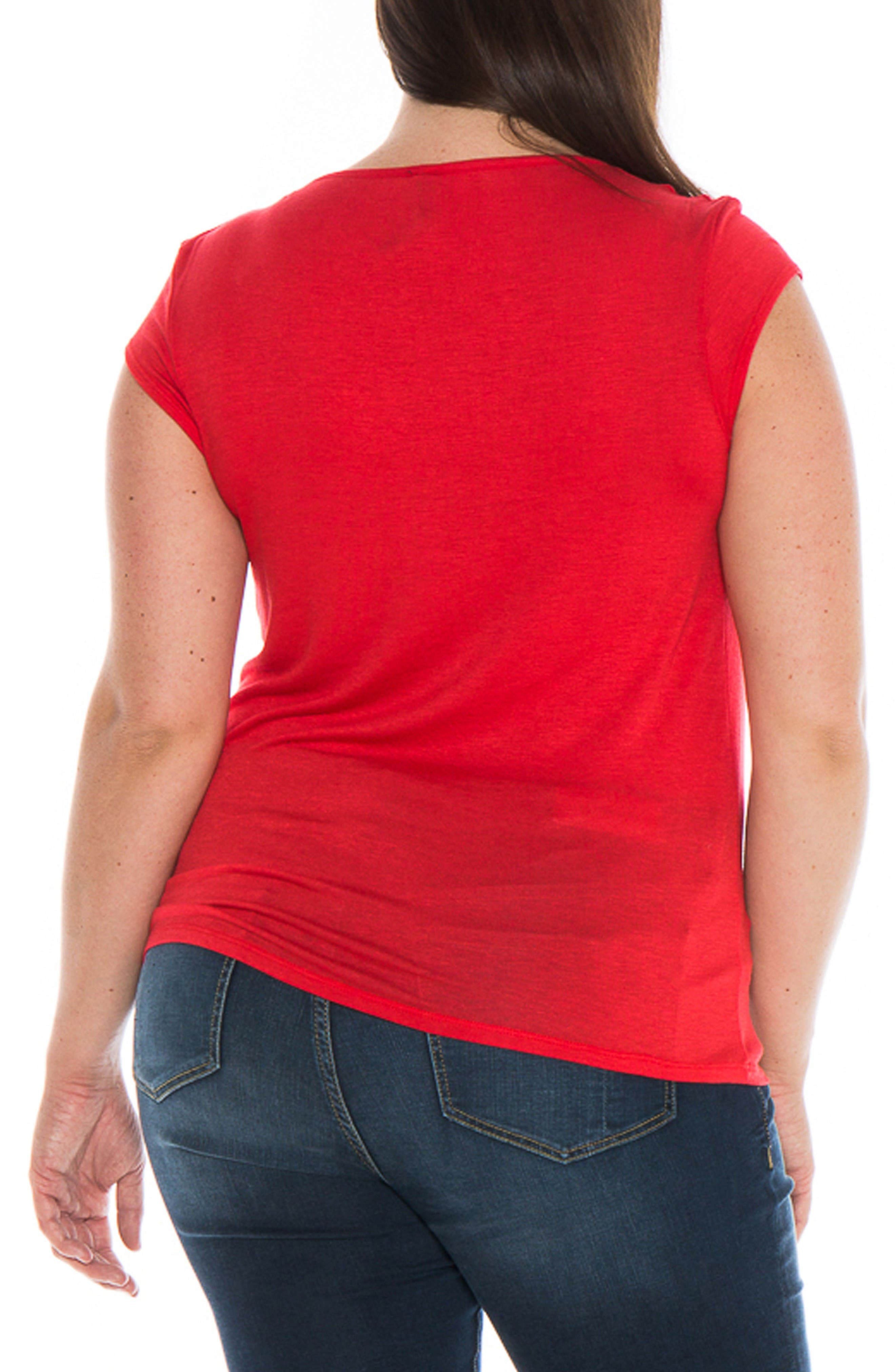 Draped Neck Tee,                             Alternate thumbnail 2, color,                             Red