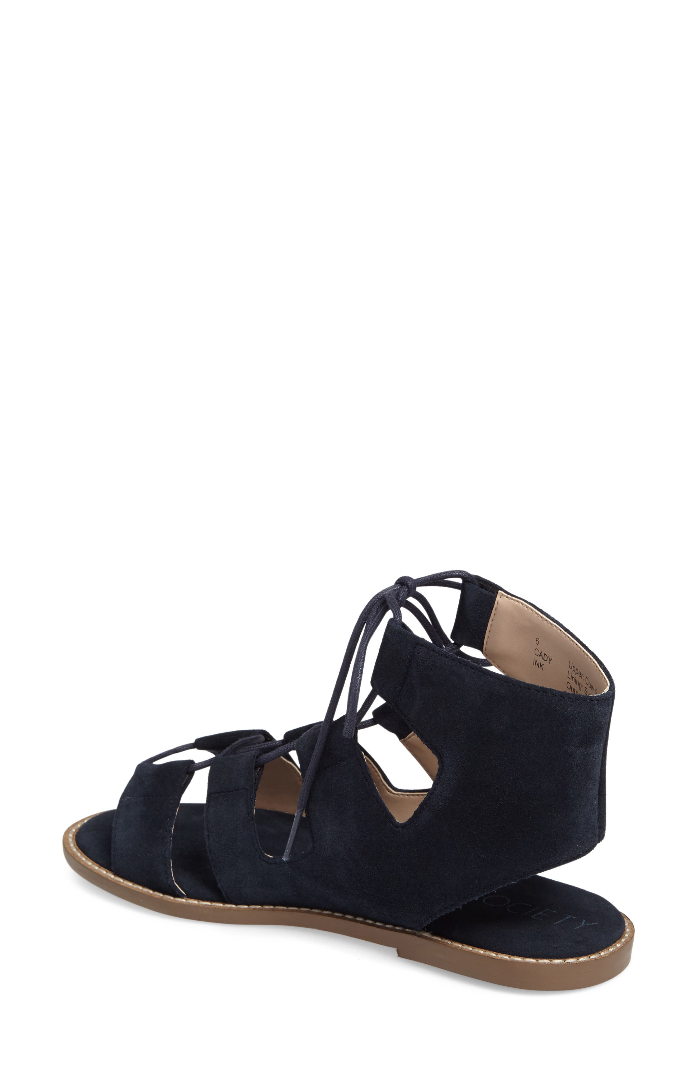 'Cady' Lace-Up Flat Sandal,                             Alternate thumbnail 2, color,                             Ink Navy Suede