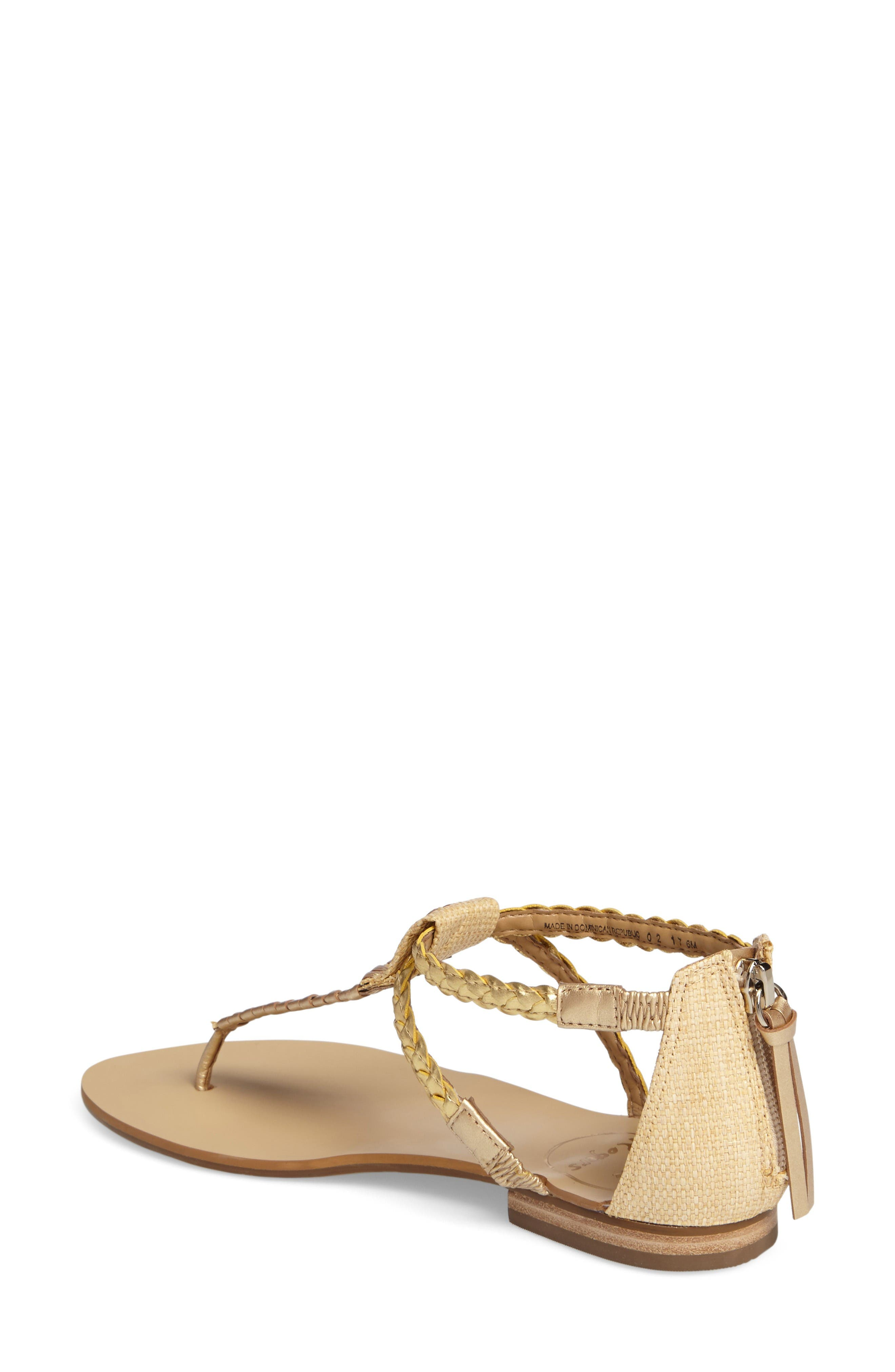 Jenna Sandal,                             Alternate thumbnail 2, color,                             Natural/ Gold Fabric