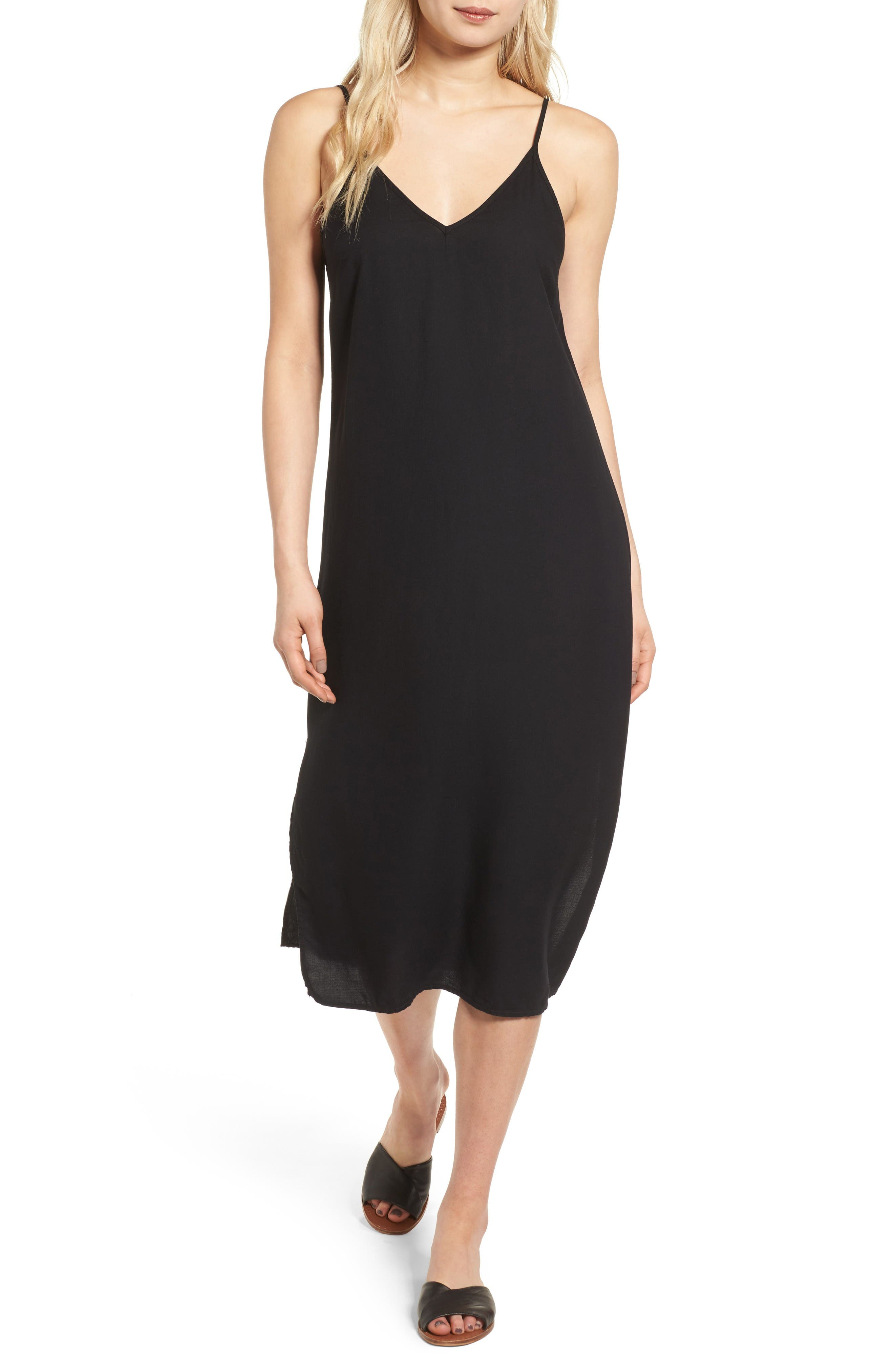 Tank Midi Dress,                             Main thumbnail 1, color,                             Black