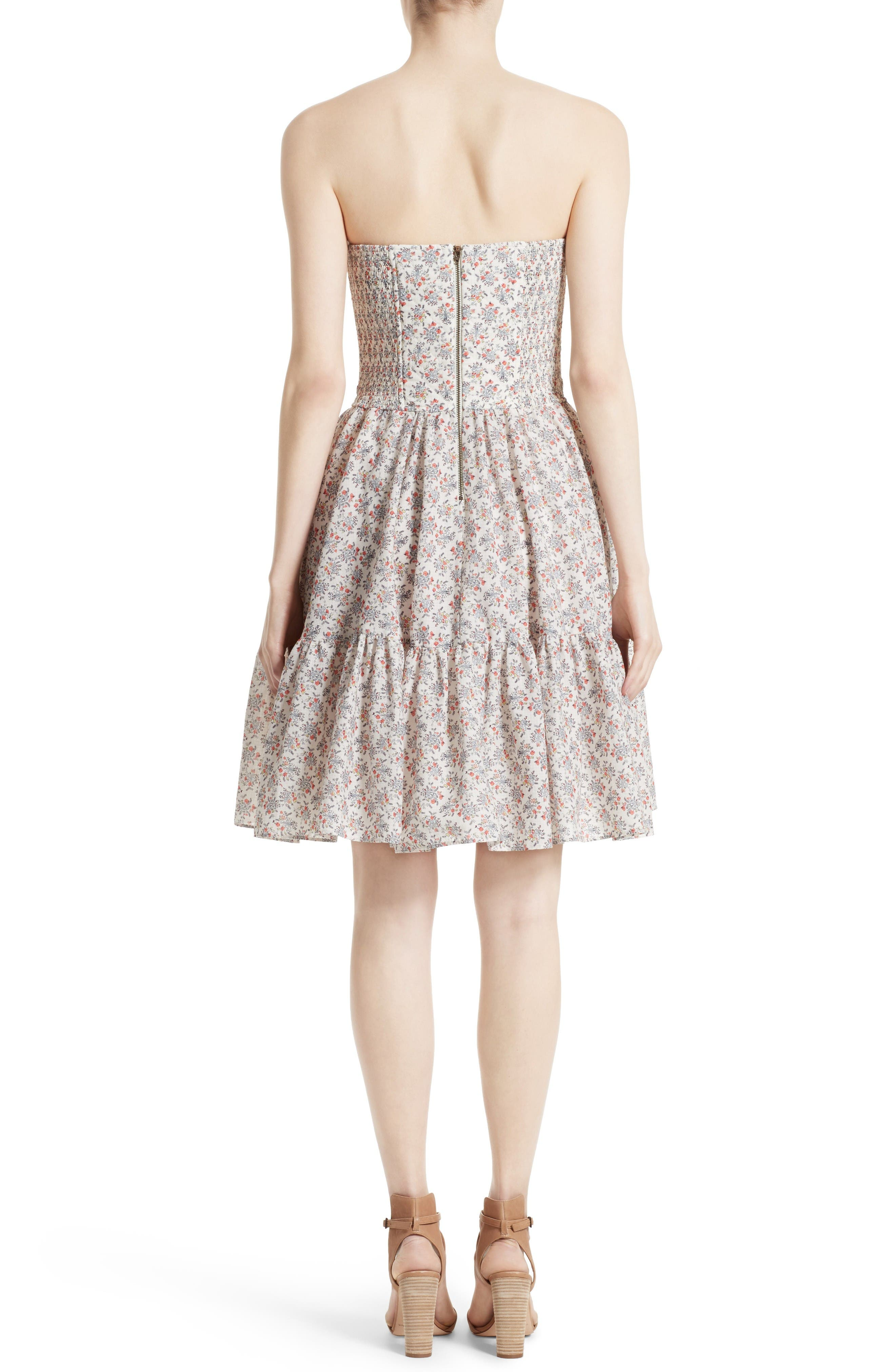 Provençal Strapless Dress,                             Alternate thumbnail 2, color,                             Creamsicle Combo