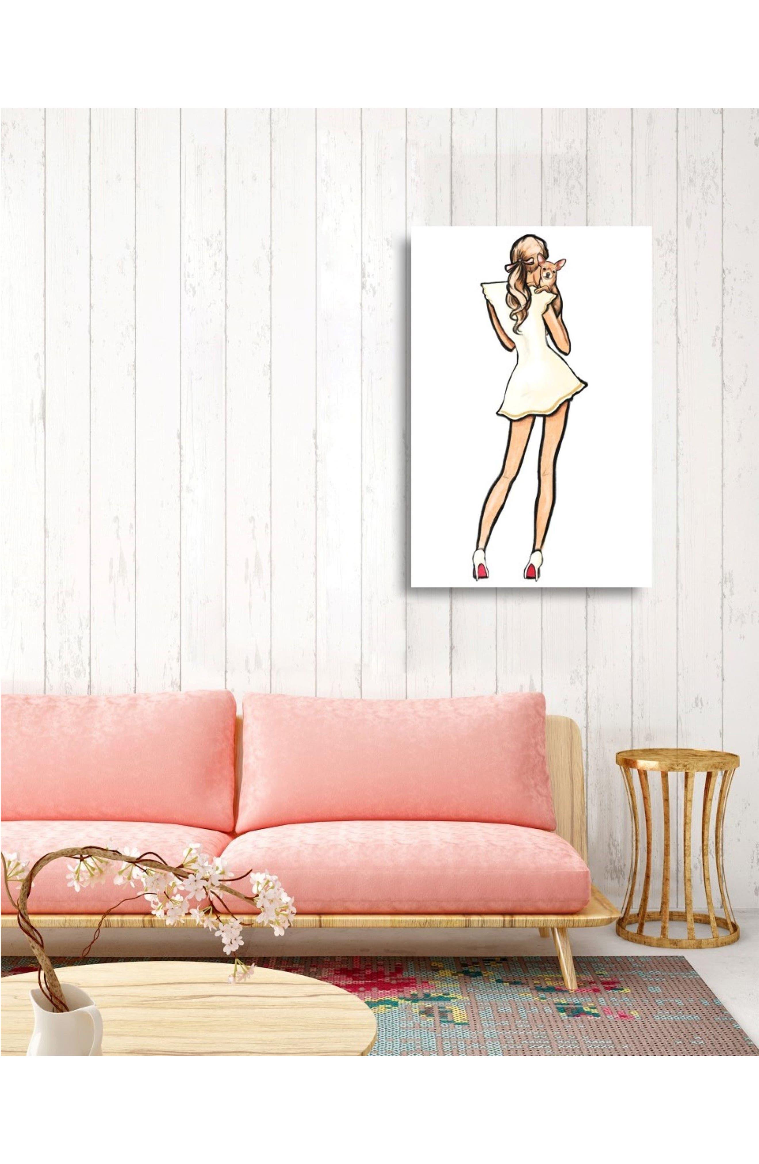 White Dress Best Friend Canvas Wall Art,                             Alternate thumbnail 2, color,                             White