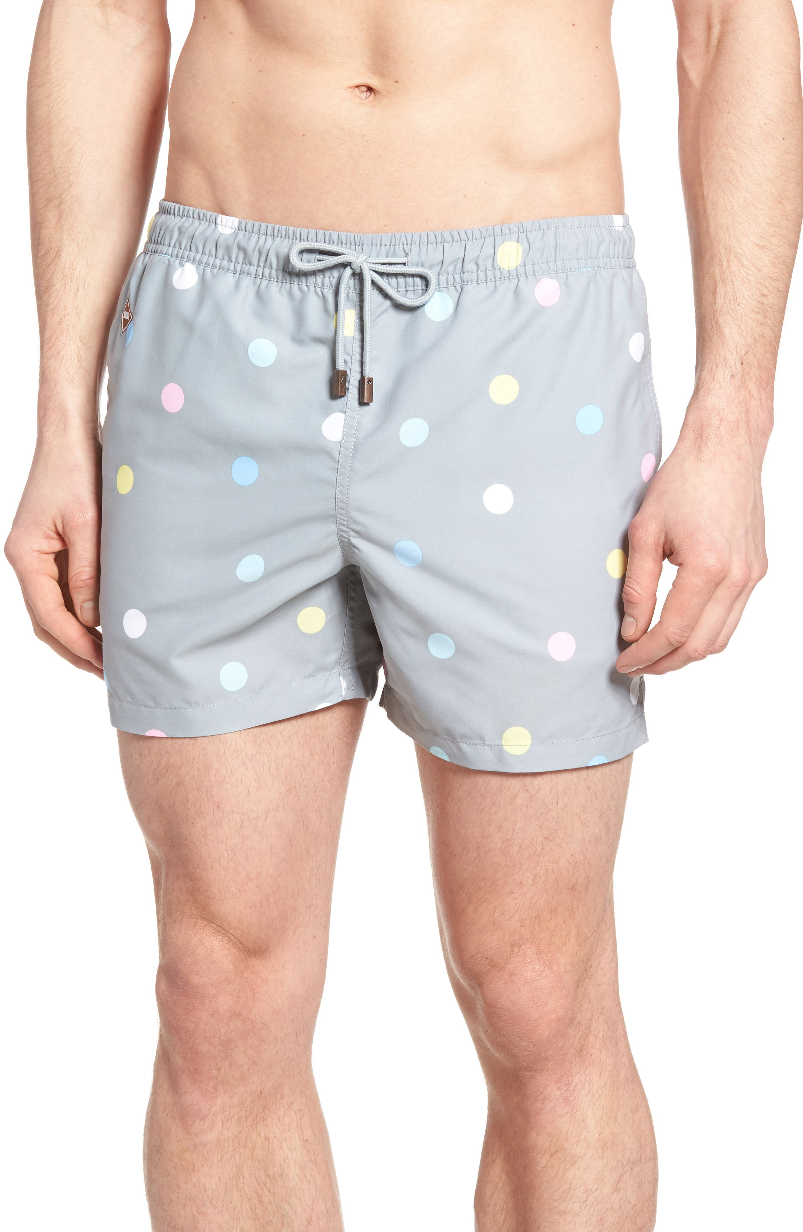 Mixed Dot Swim Trunks,                         Main,                         color, Olive