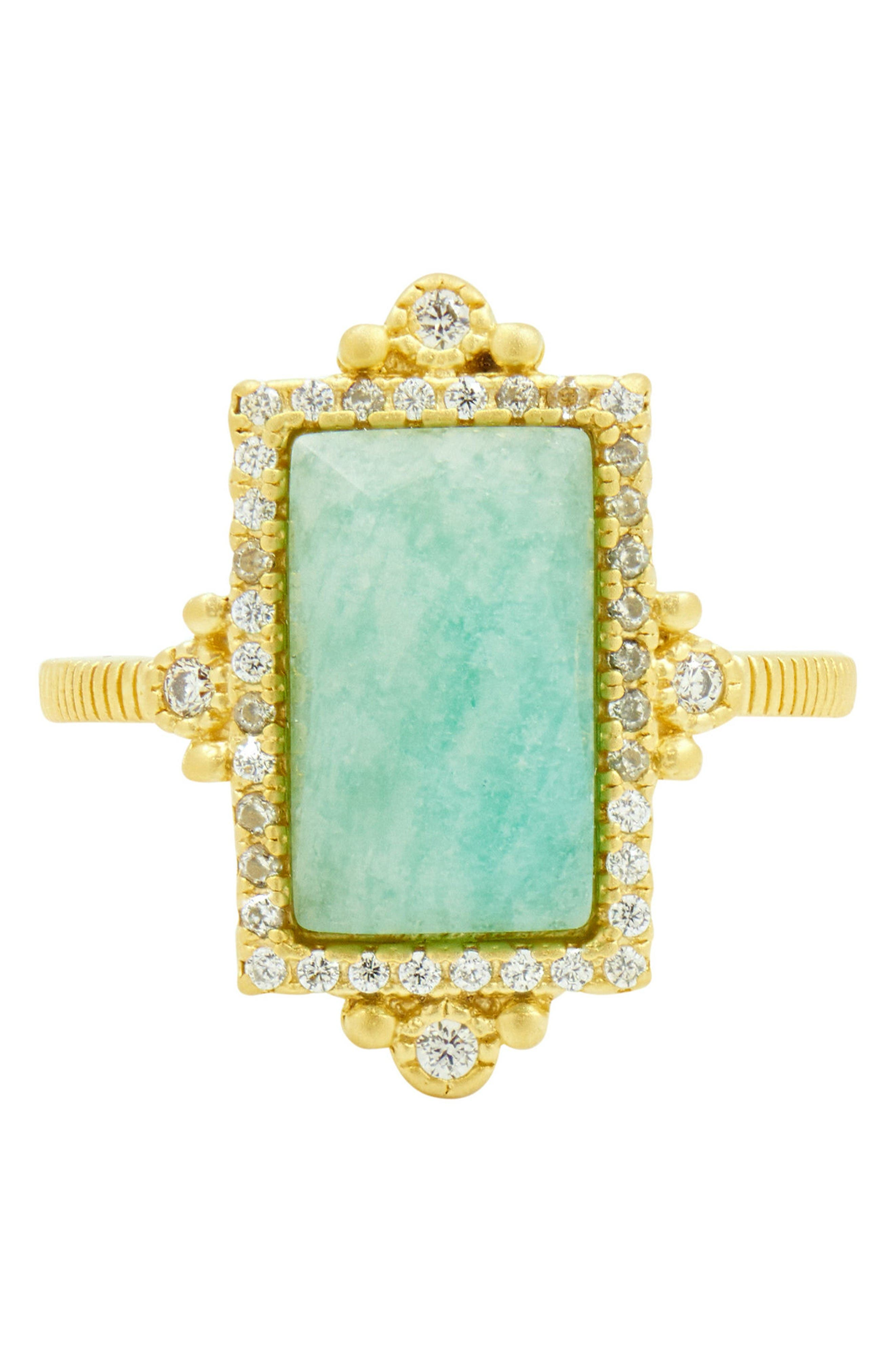 Amazonite Allure Cocktail Ring,                         Main,                         color, Gold