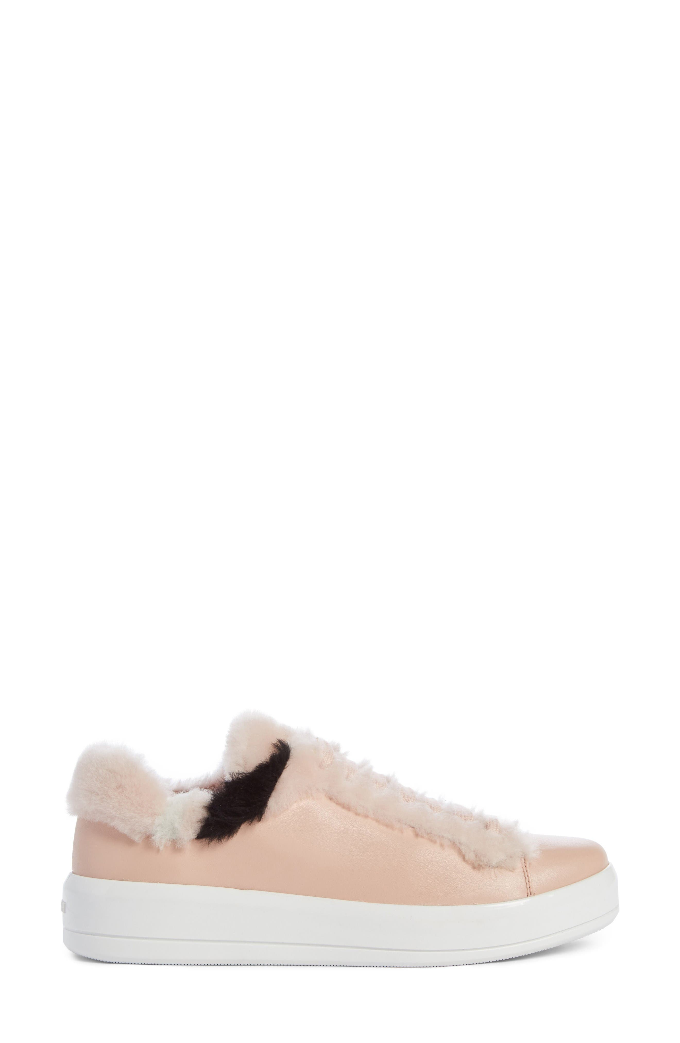 Genuine Shearling Trim Platform Sneaker,                             Alternate thumbnail 4, color,                             Pink Leather
